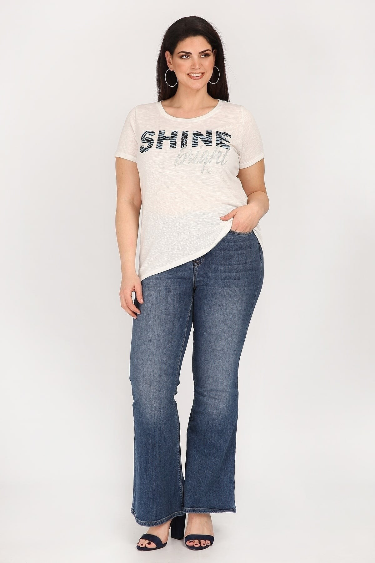 Melange blouse with logo SHINE BRIGHT