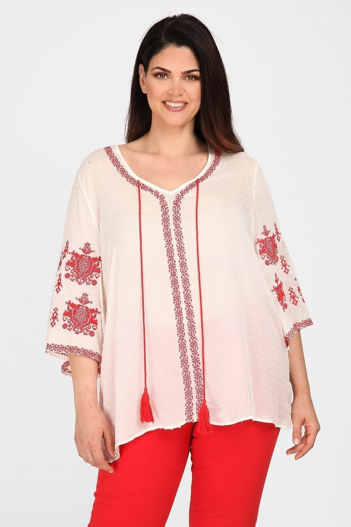 Embroidery blouse with bell sleeves