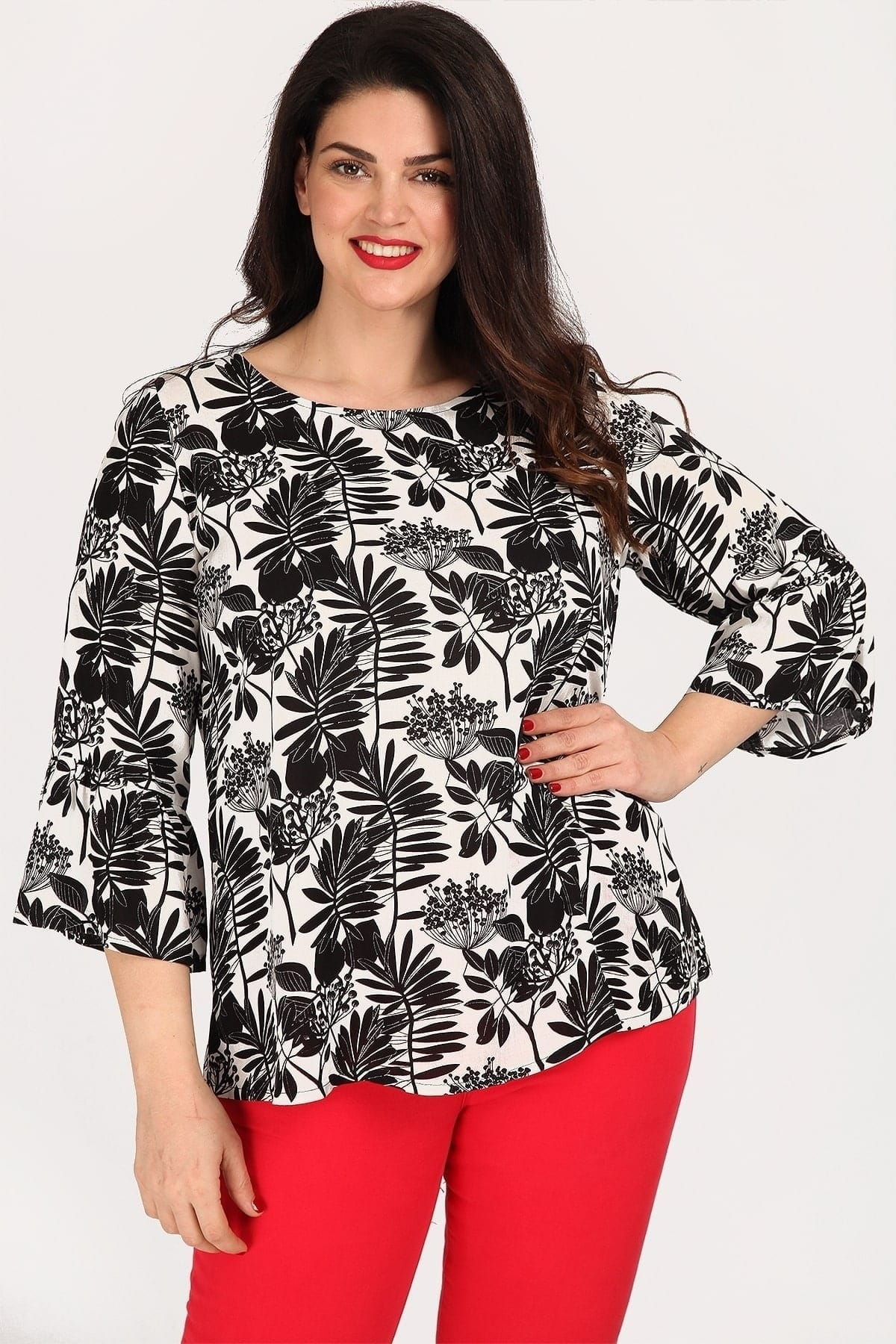 Shirtblouse in tropical print