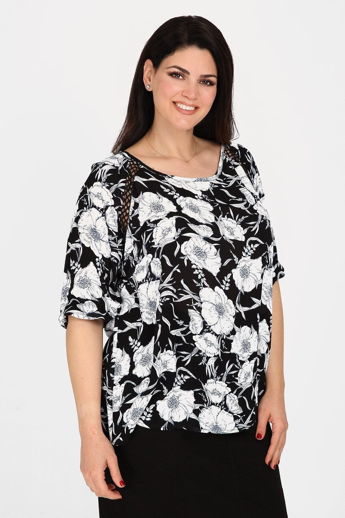 Printed broderie blouse