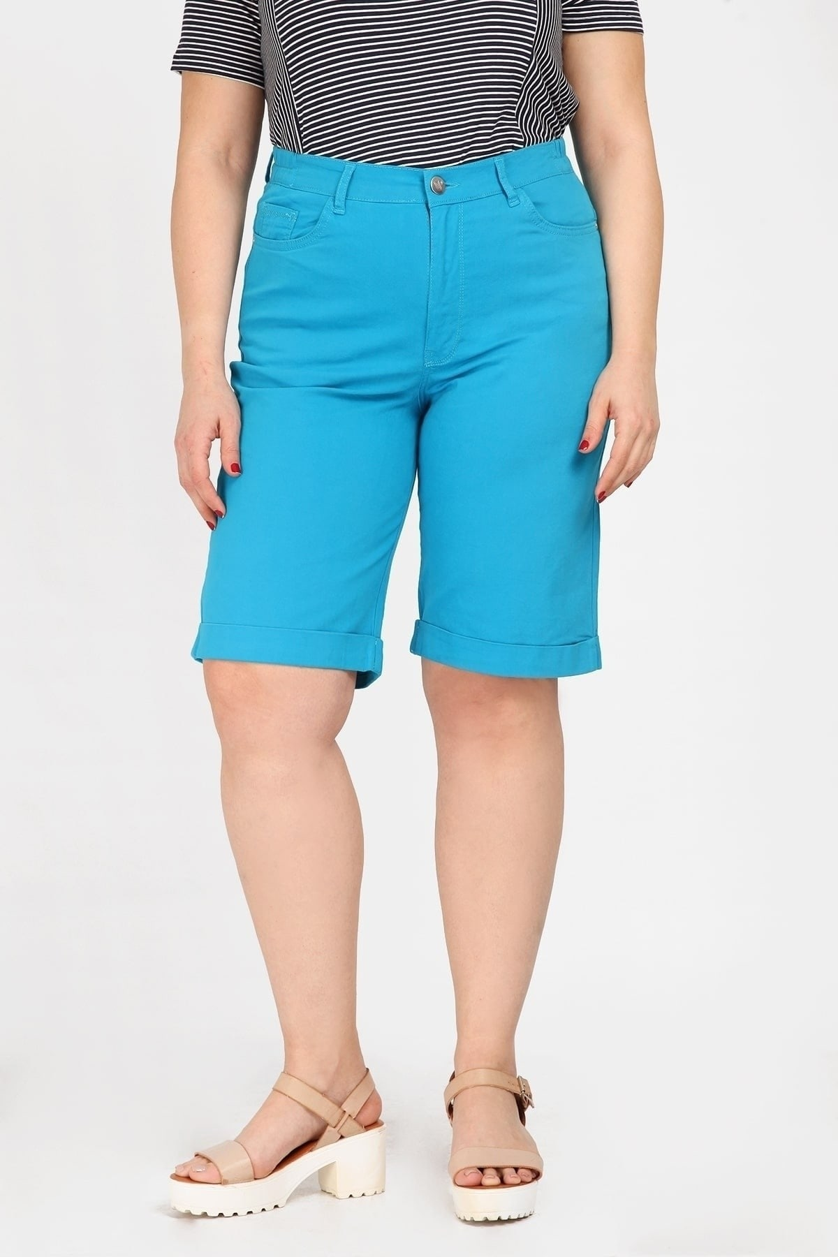 Cotton bermuda shorts with turn ups and lurex details