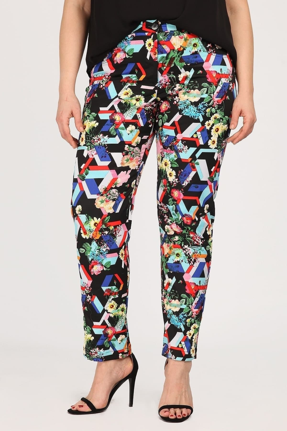 Printed gabardine trousers