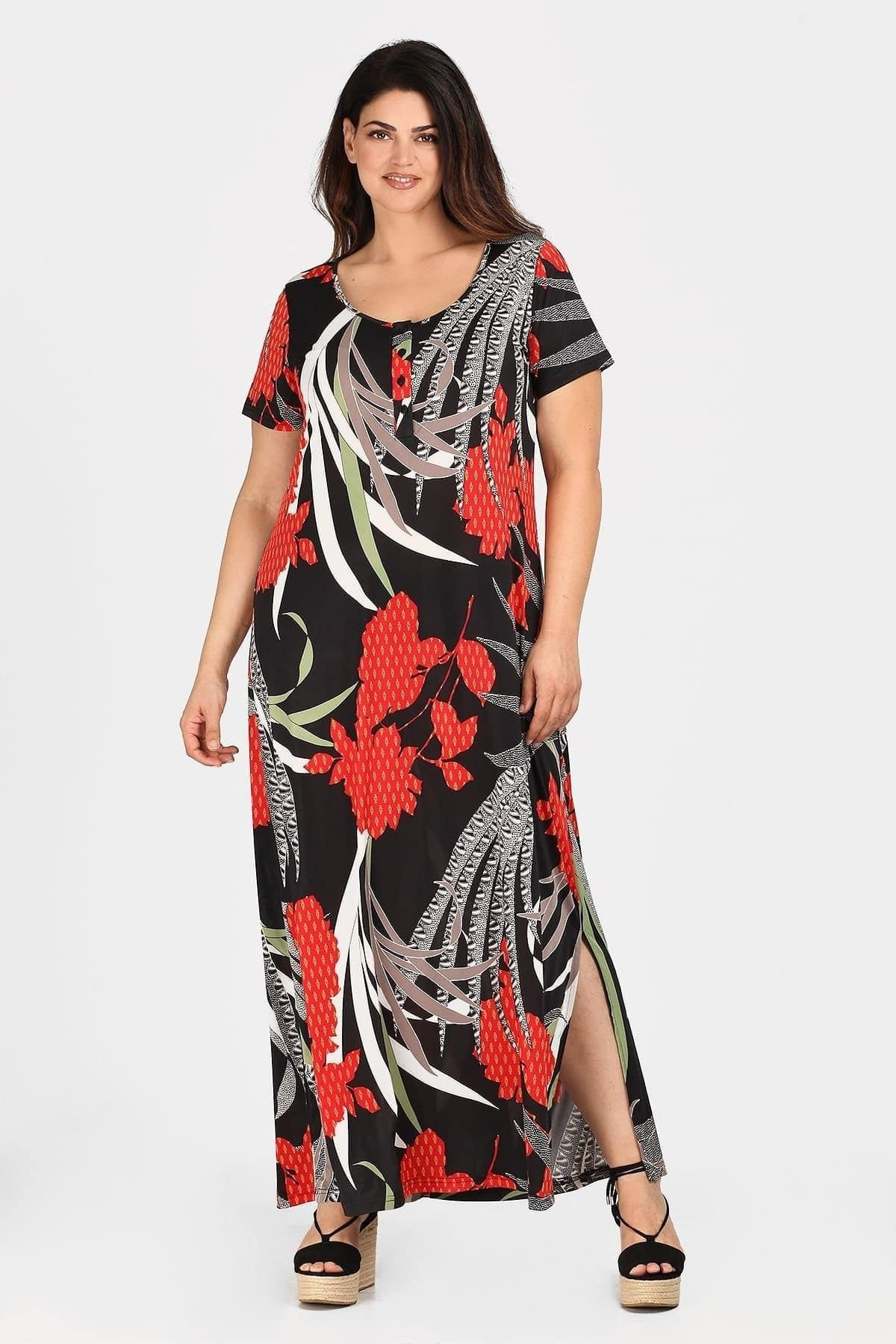 Maxi print jersey dress with buttons