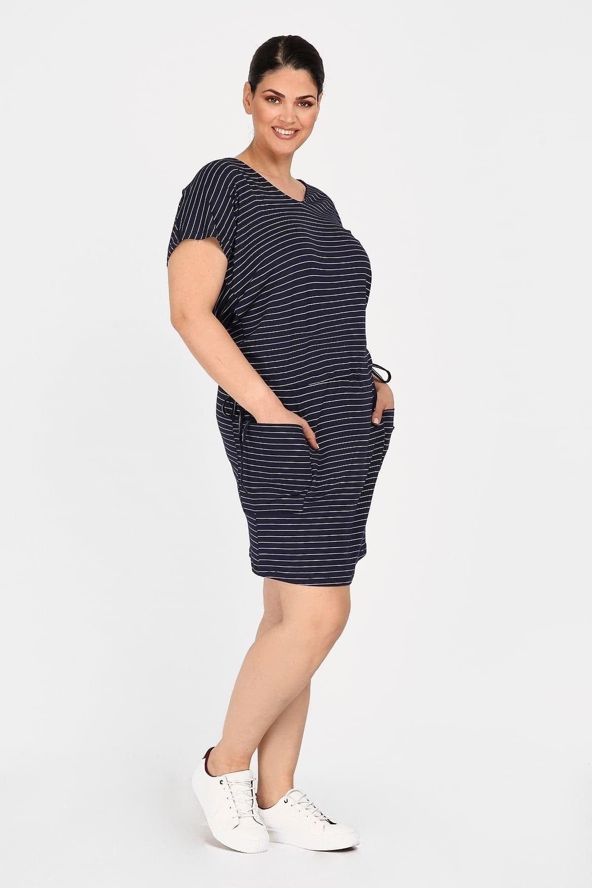Striped viscose dress with waist belt