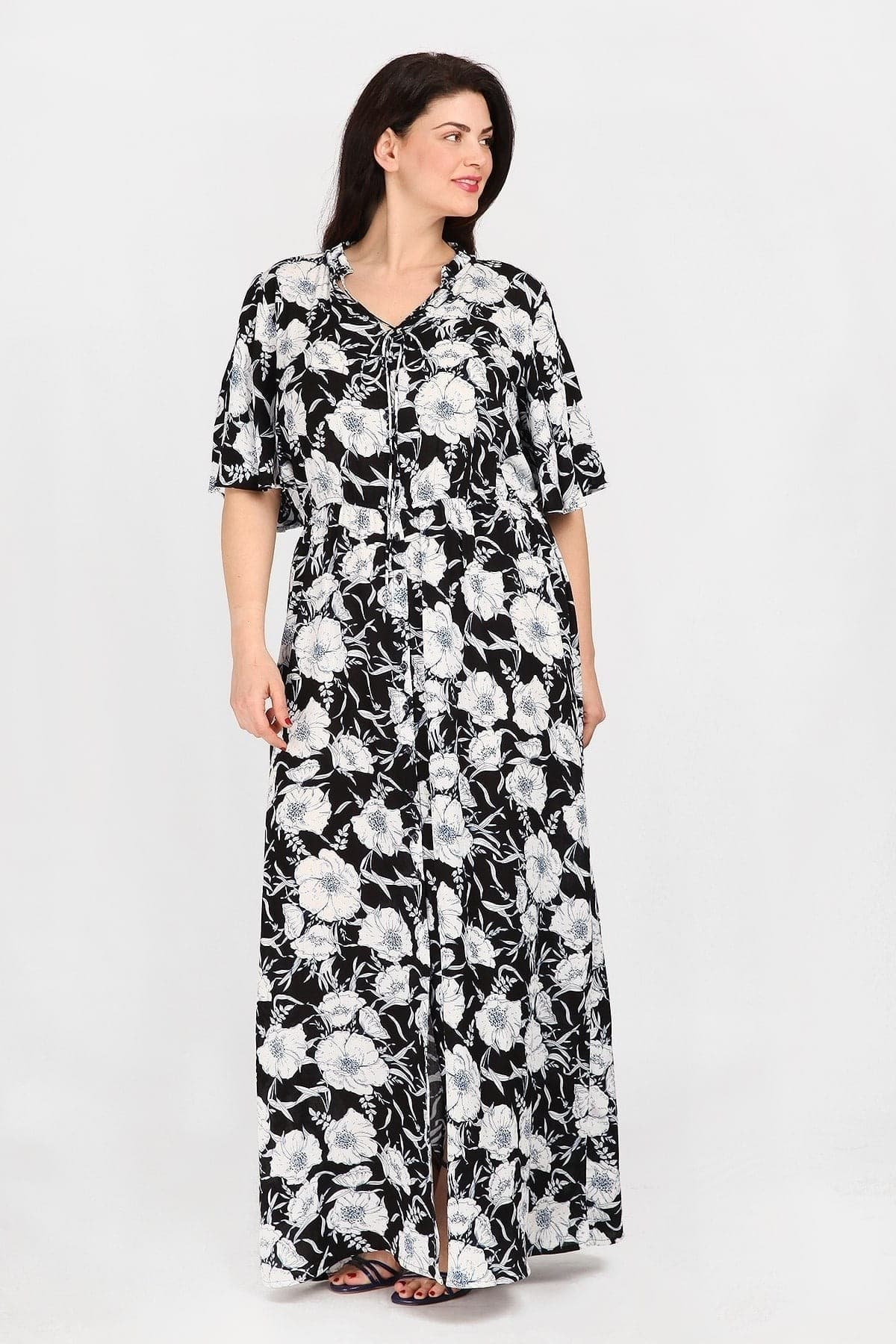Maxi floral shirt-style dress