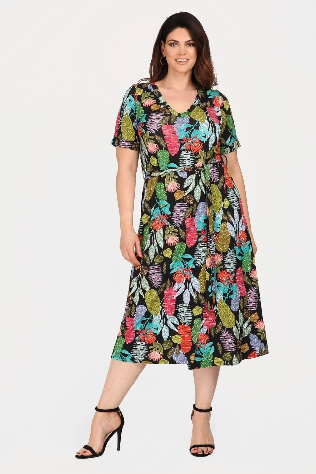 Tropical viscose dress wrap style