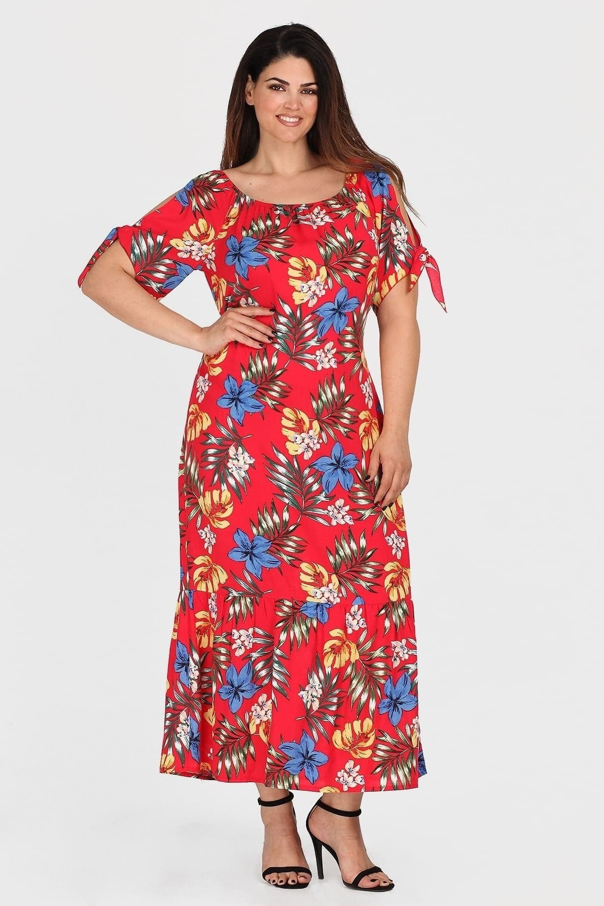 Maxi off-shoulder viscose floral dress
