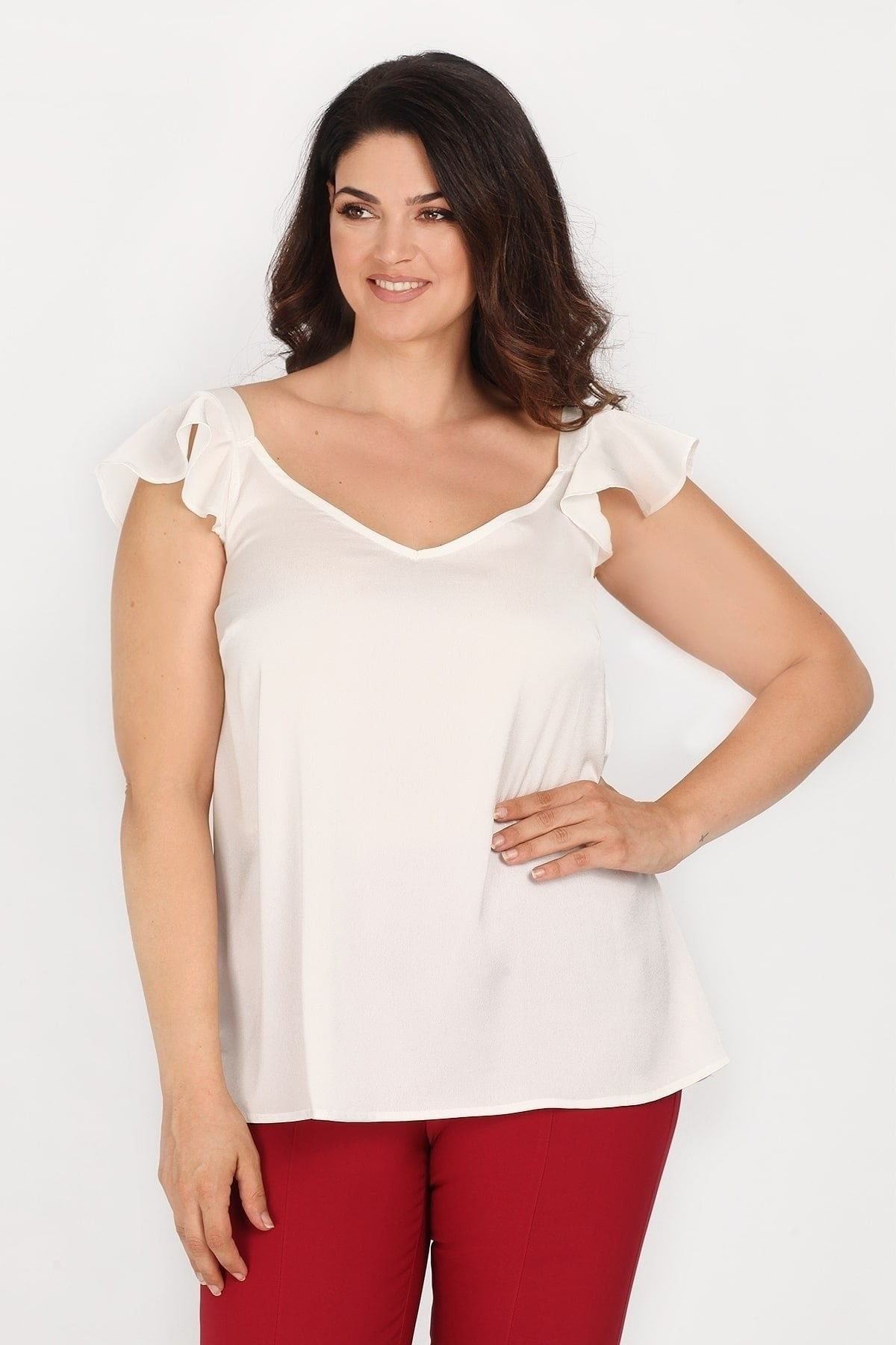 Satin top with ruffled sleeves