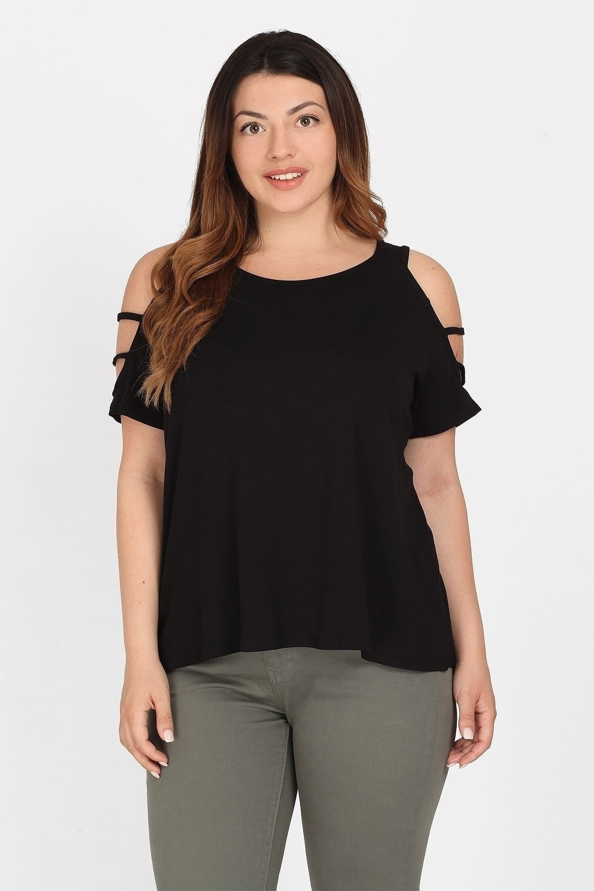 Cold-shoulder blouse from viscose