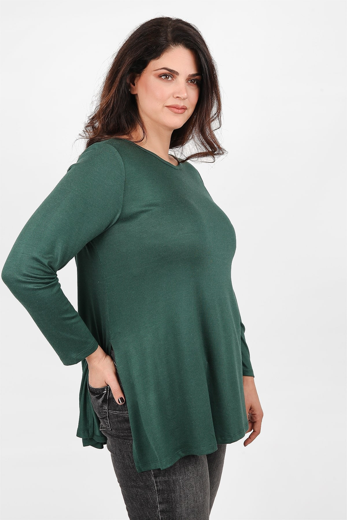 Split side knit blouse