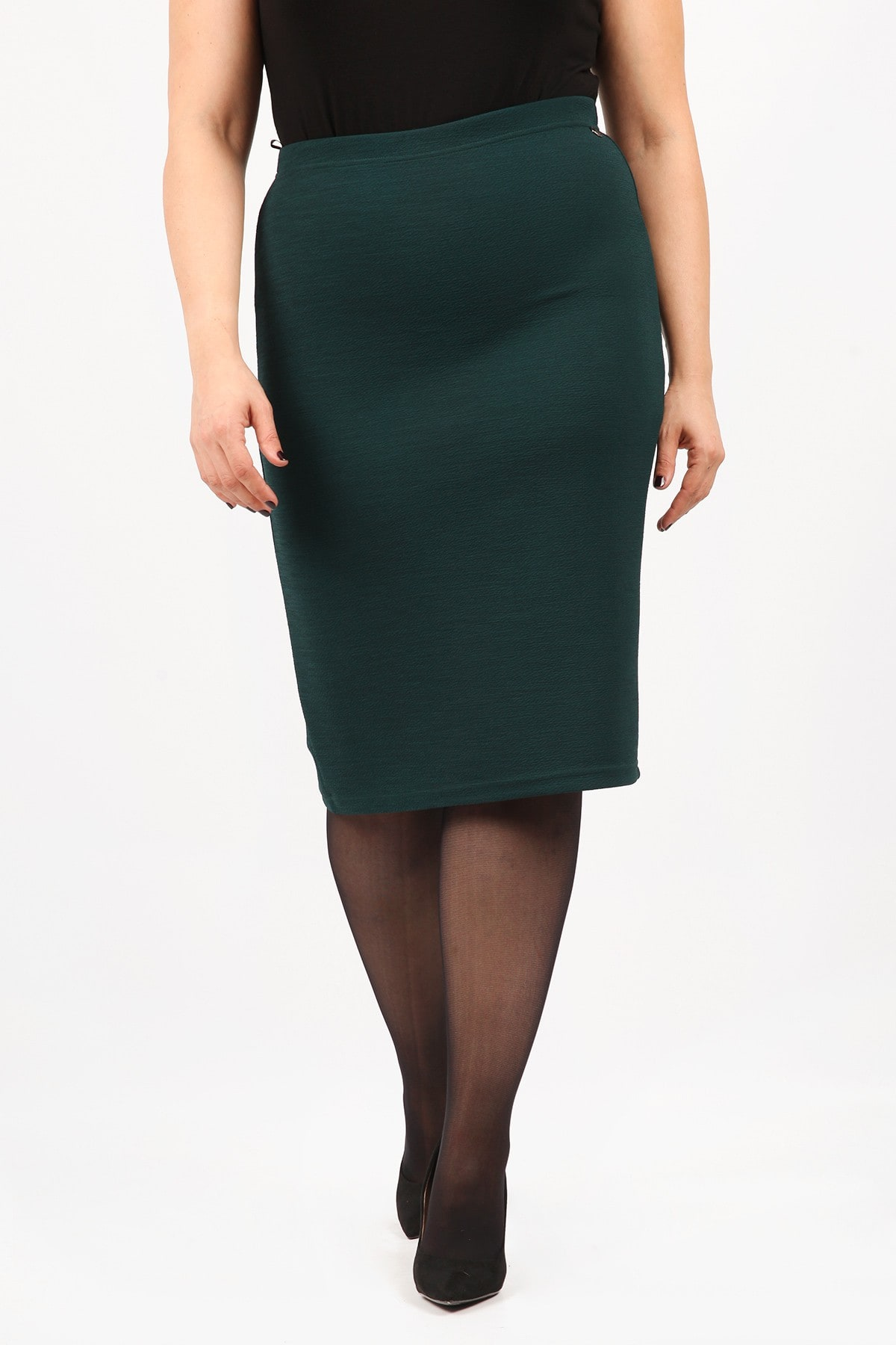 Jacquard elastic pencil skirt