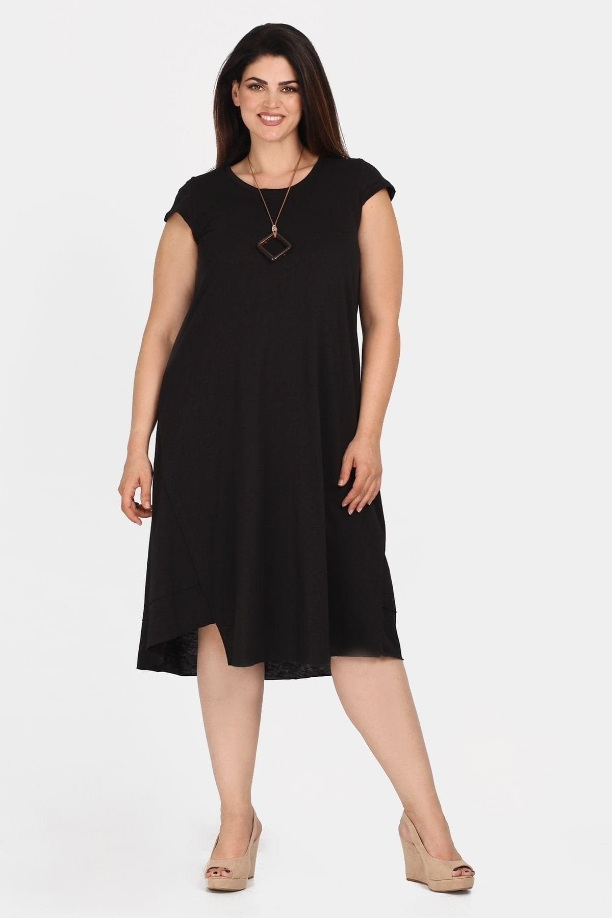 Midi dress with asymmetric hem and pendant