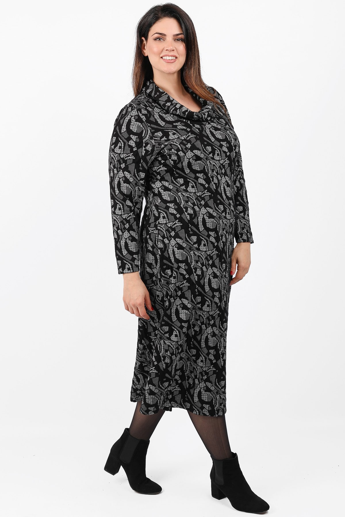 Printed midi roll-down neck dress