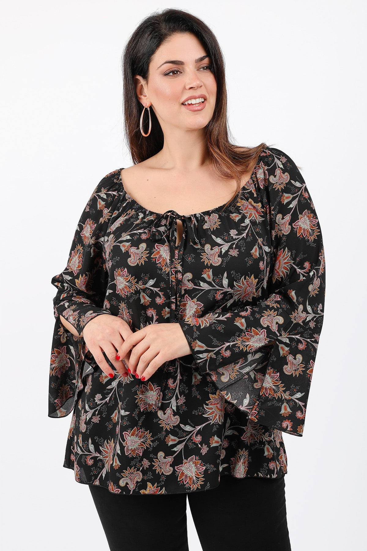 Floral shirtblouse with flared sleeves