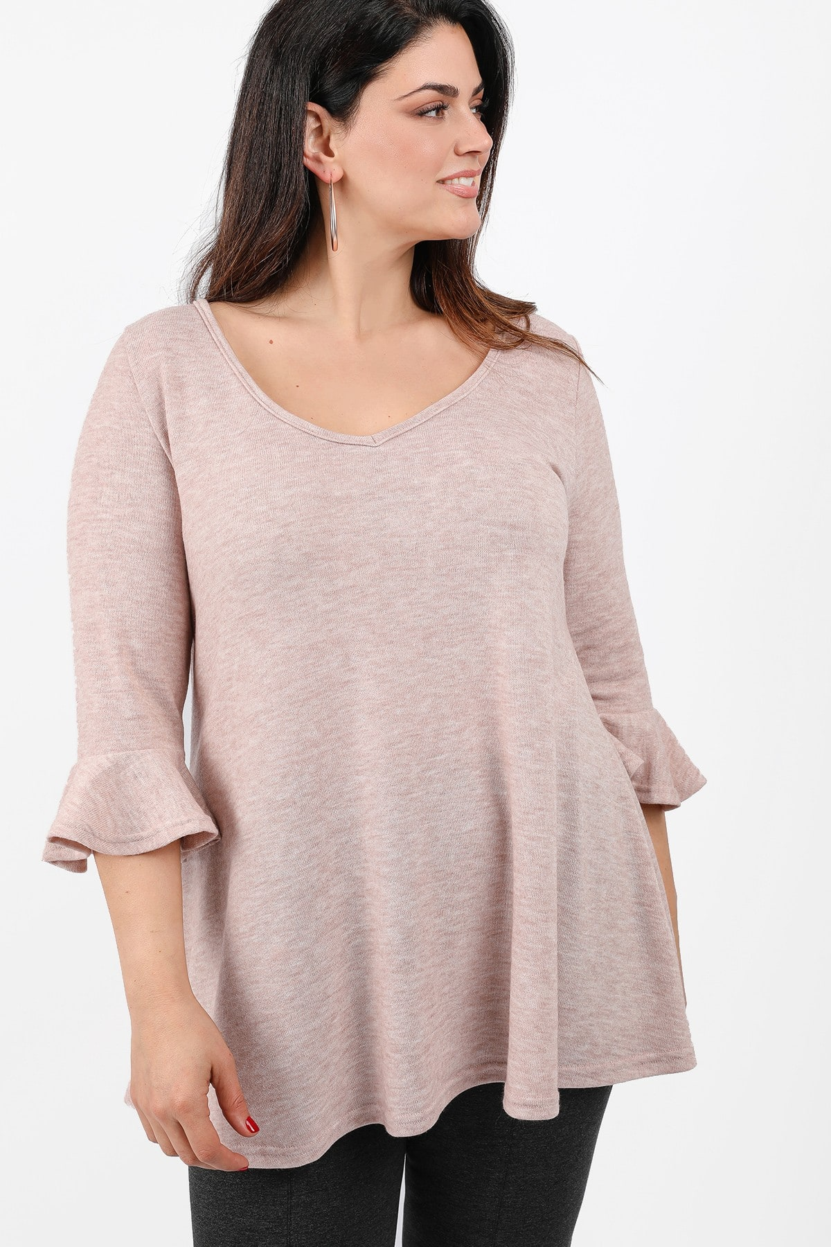 Longline blouse with ruffles on the sleeves