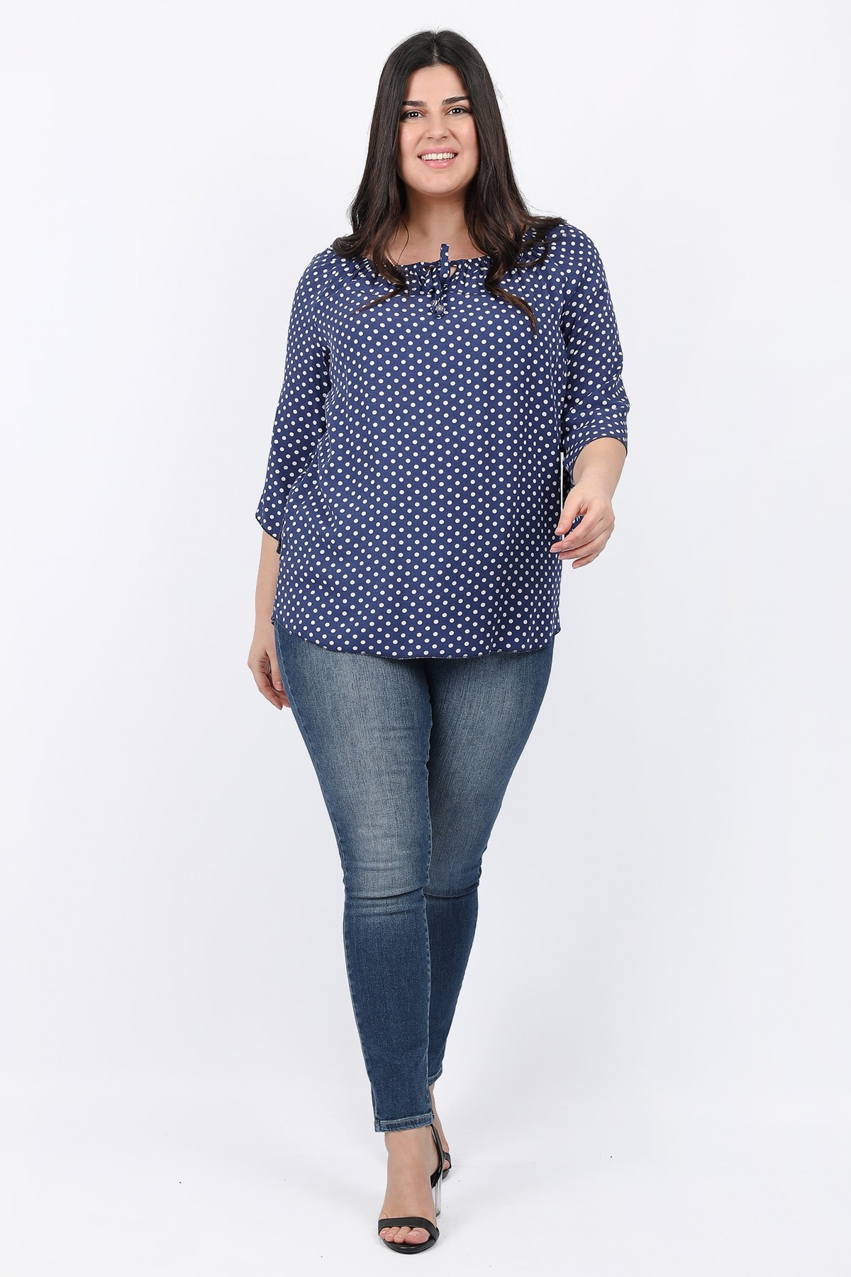 Polka dots top with ties on the V