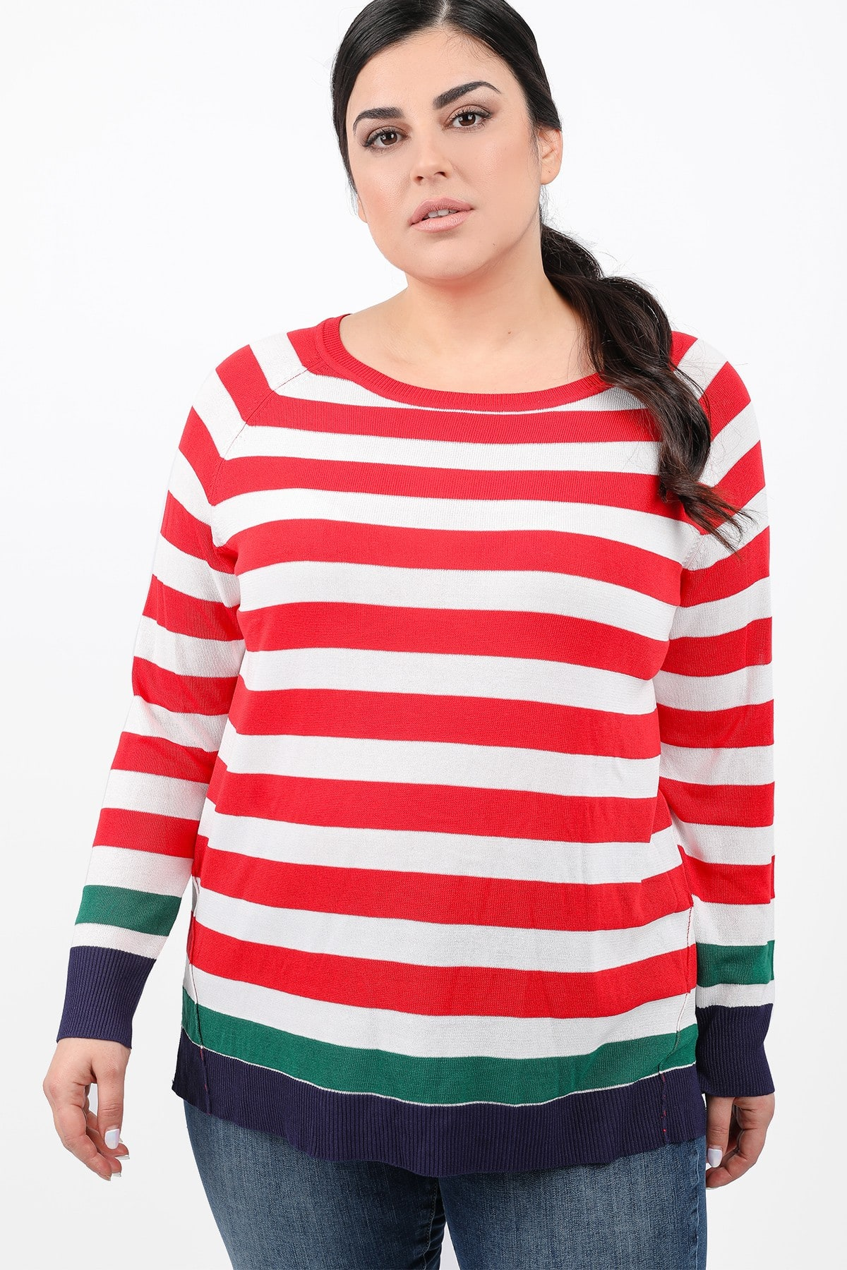 Knit stripe blouse