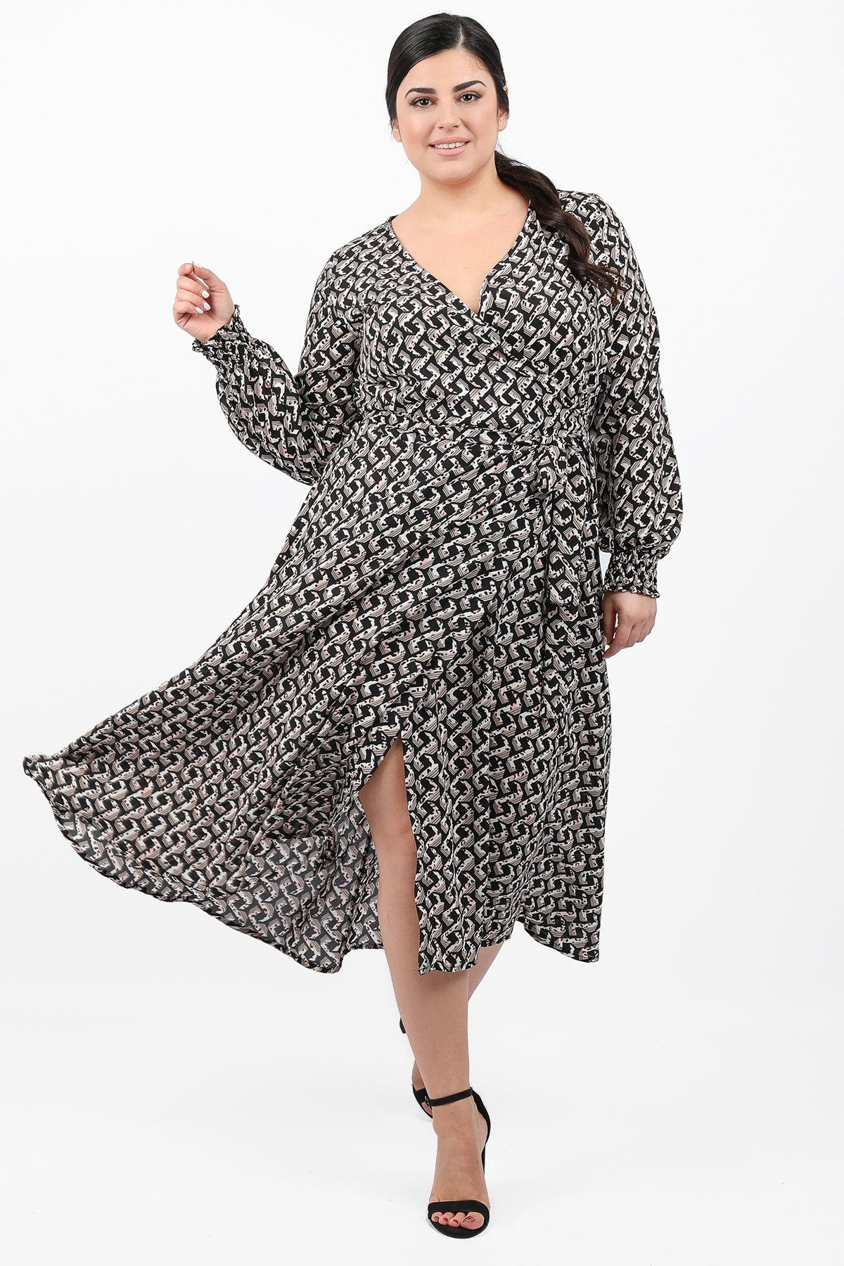 Midi printed wrap dress
