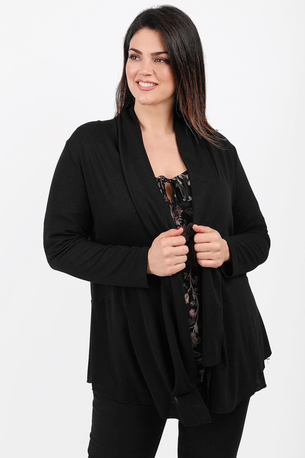 Draped cardigan with pointy hems