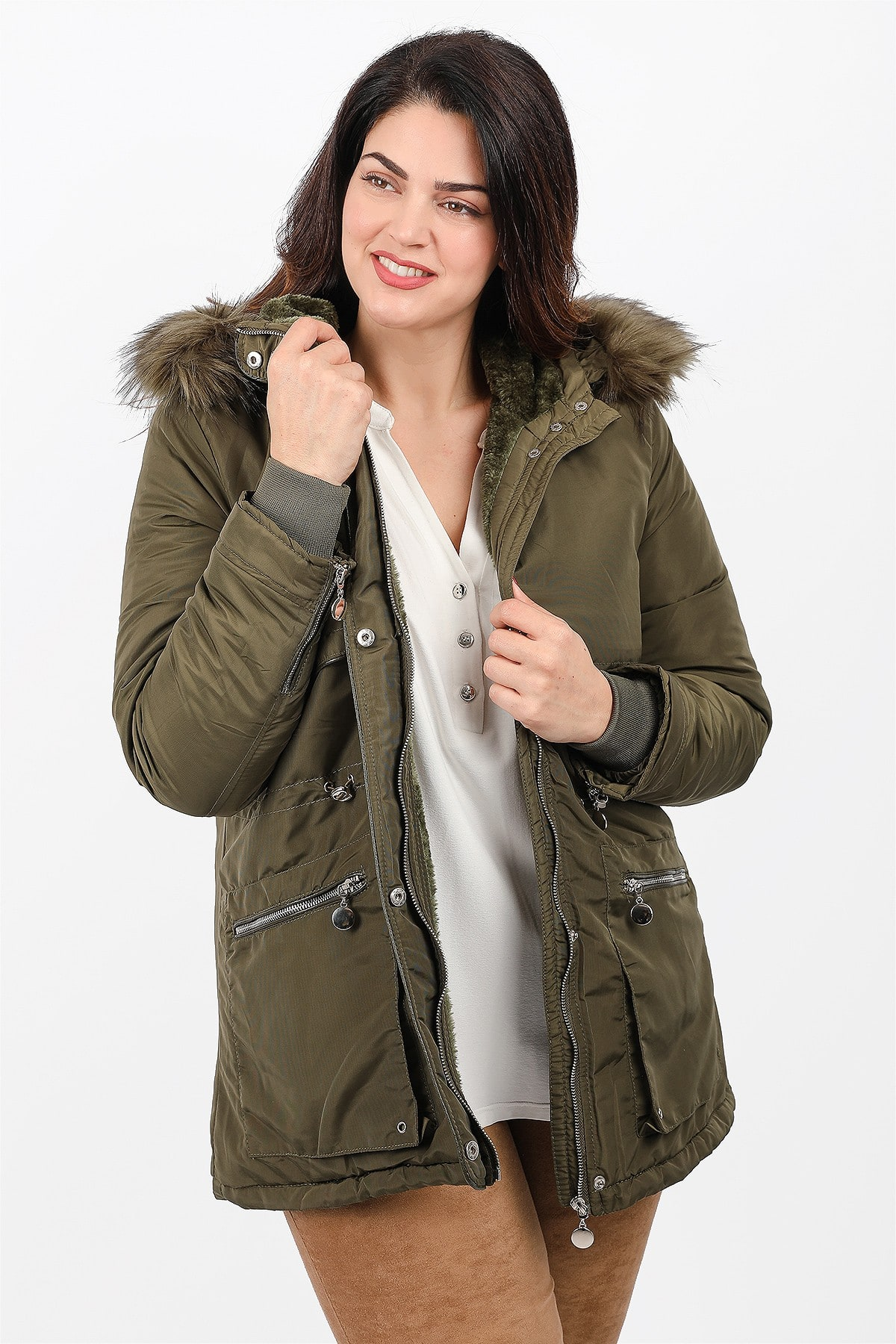 Parka with hood