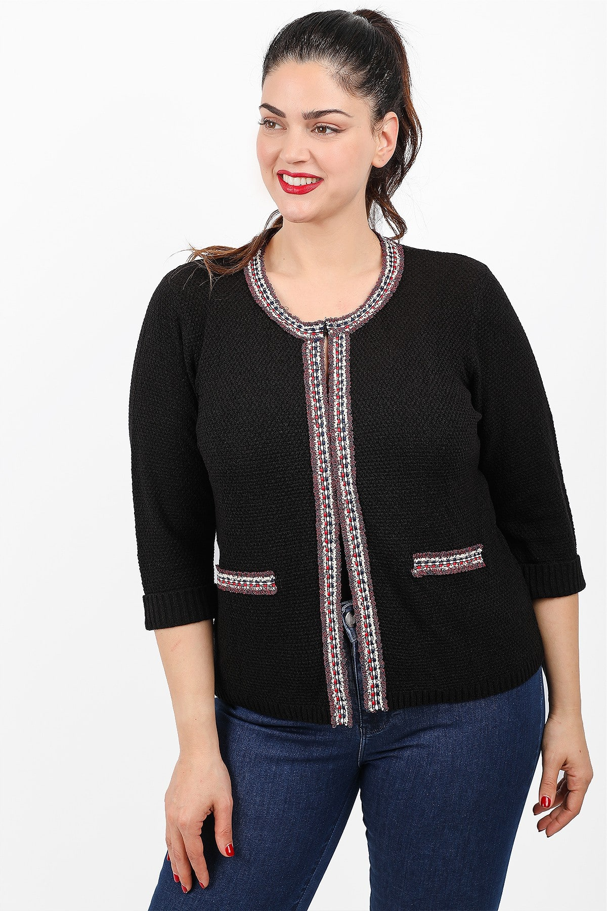 Knit cardigan with lurex embroidery