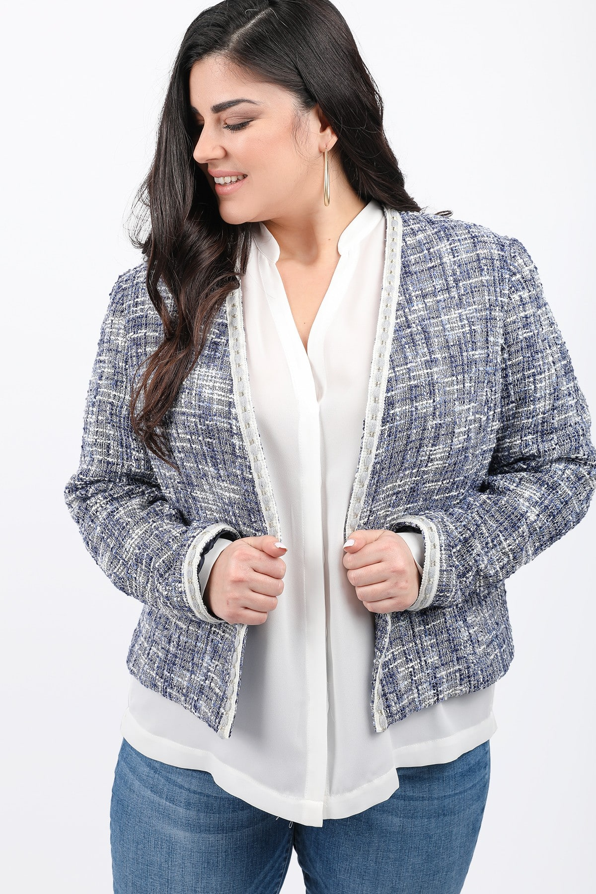 Tweed chanel style blazer