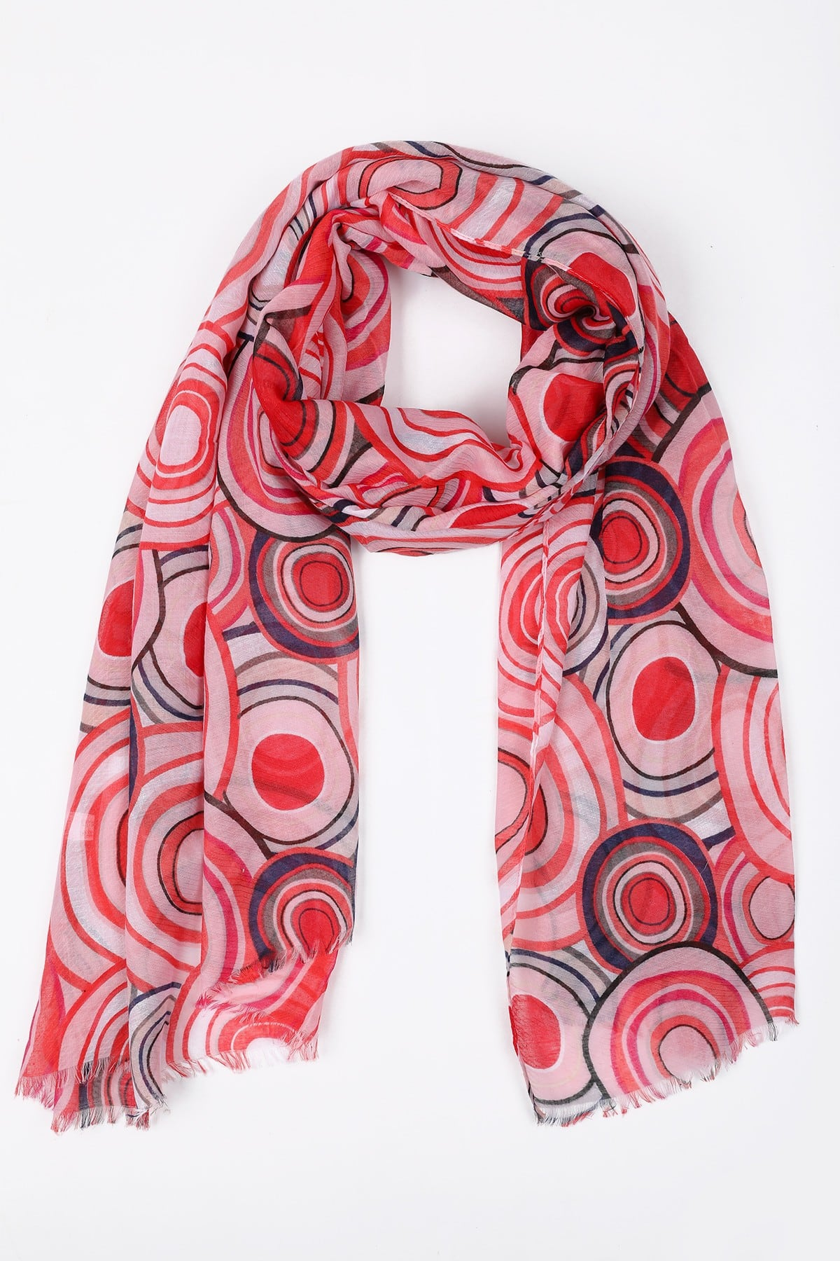 Scarf with pop print of circles