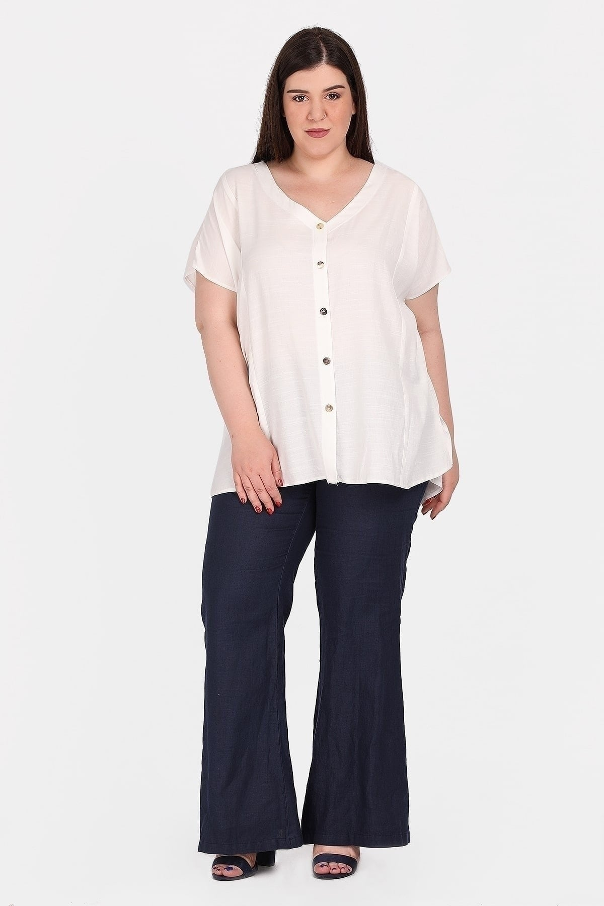 Shortsleeved oversized top from viscose