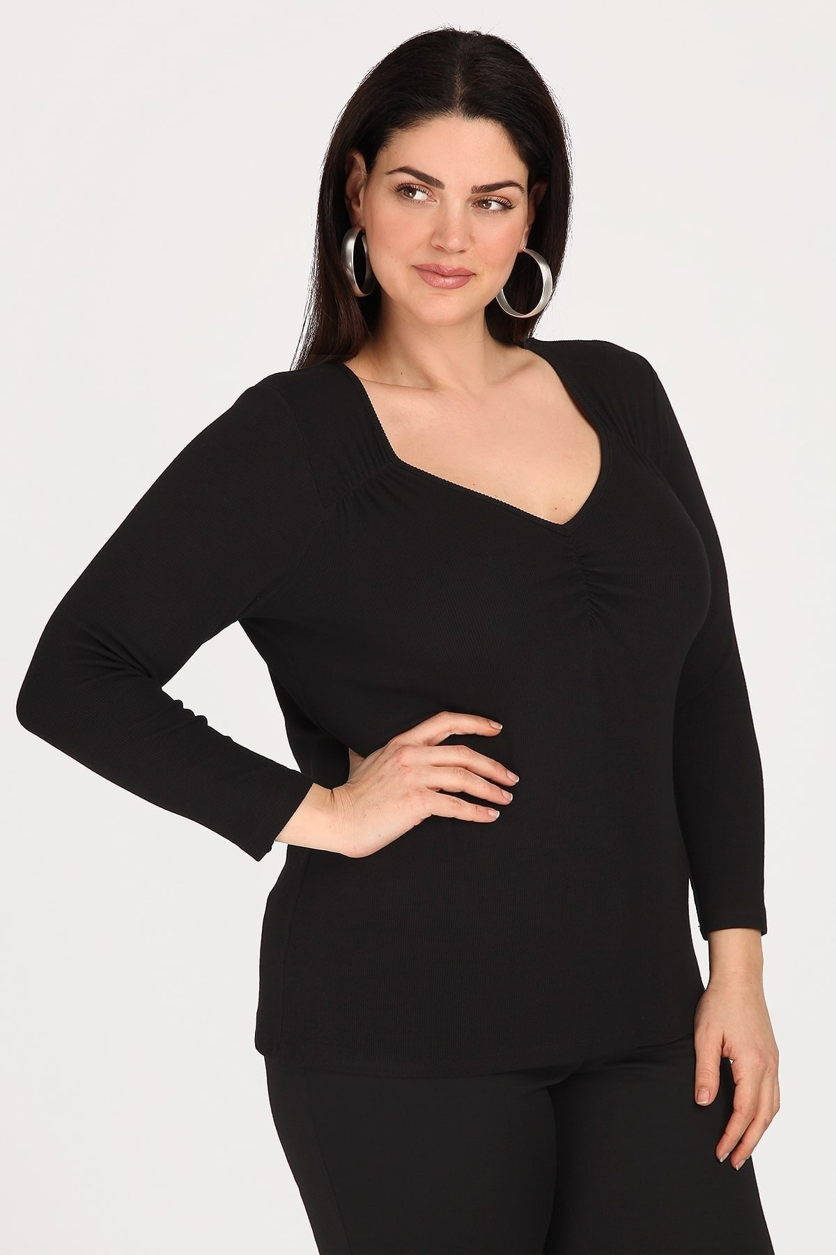 Viscose blouse with with shirred details