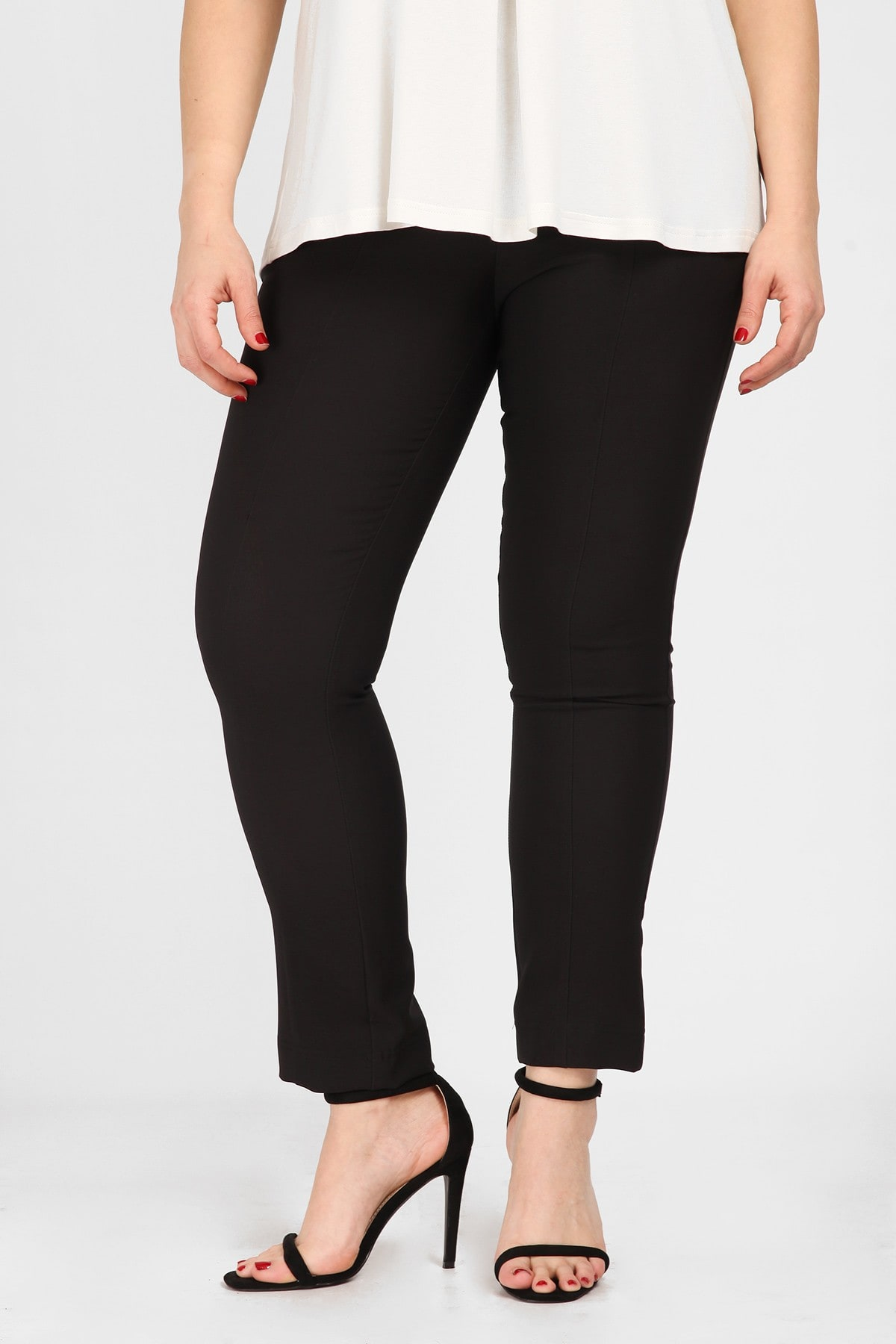 Slim fit stretch trousers with elastic waistband
