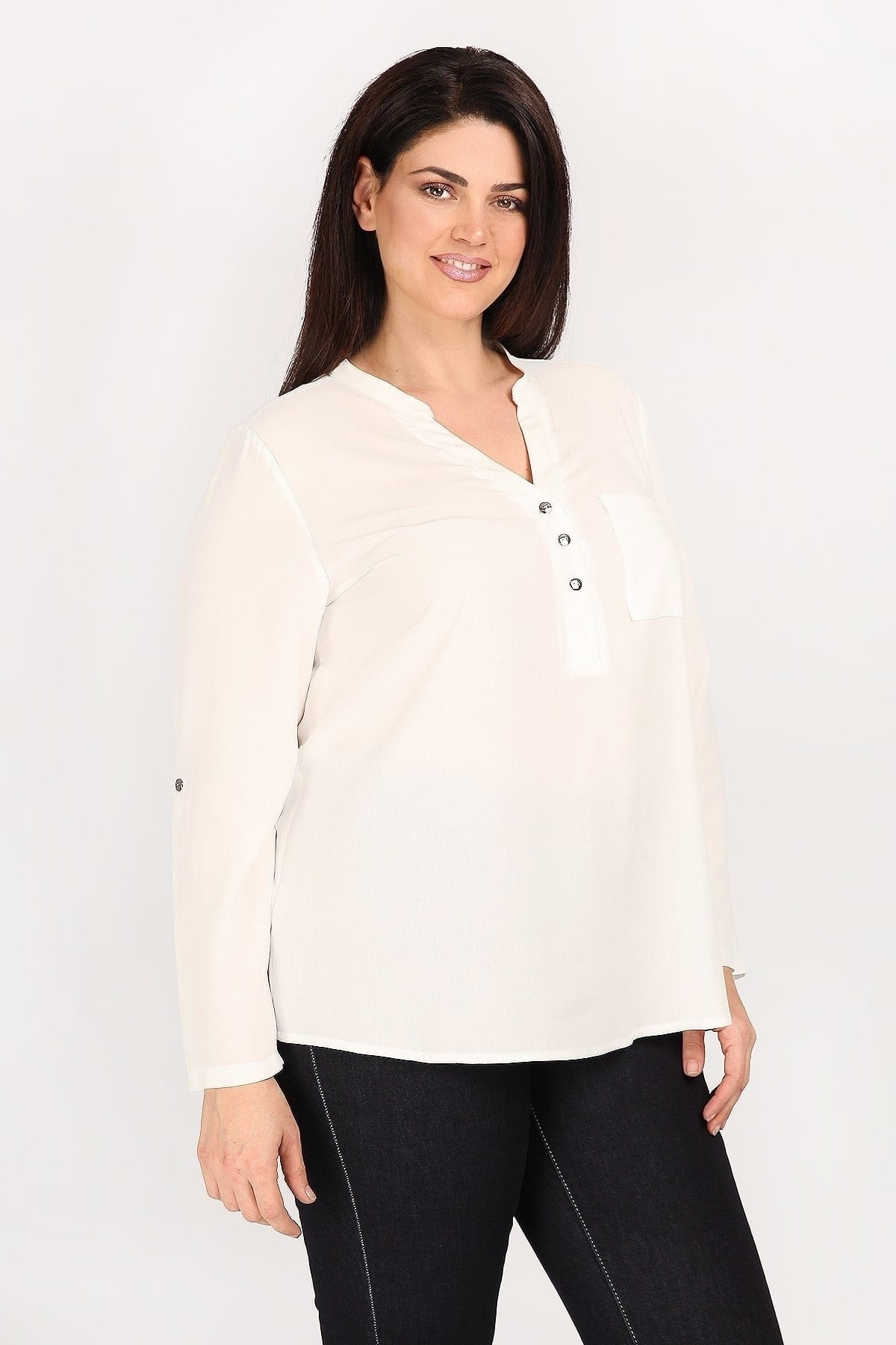Shirtblouse with placket collar