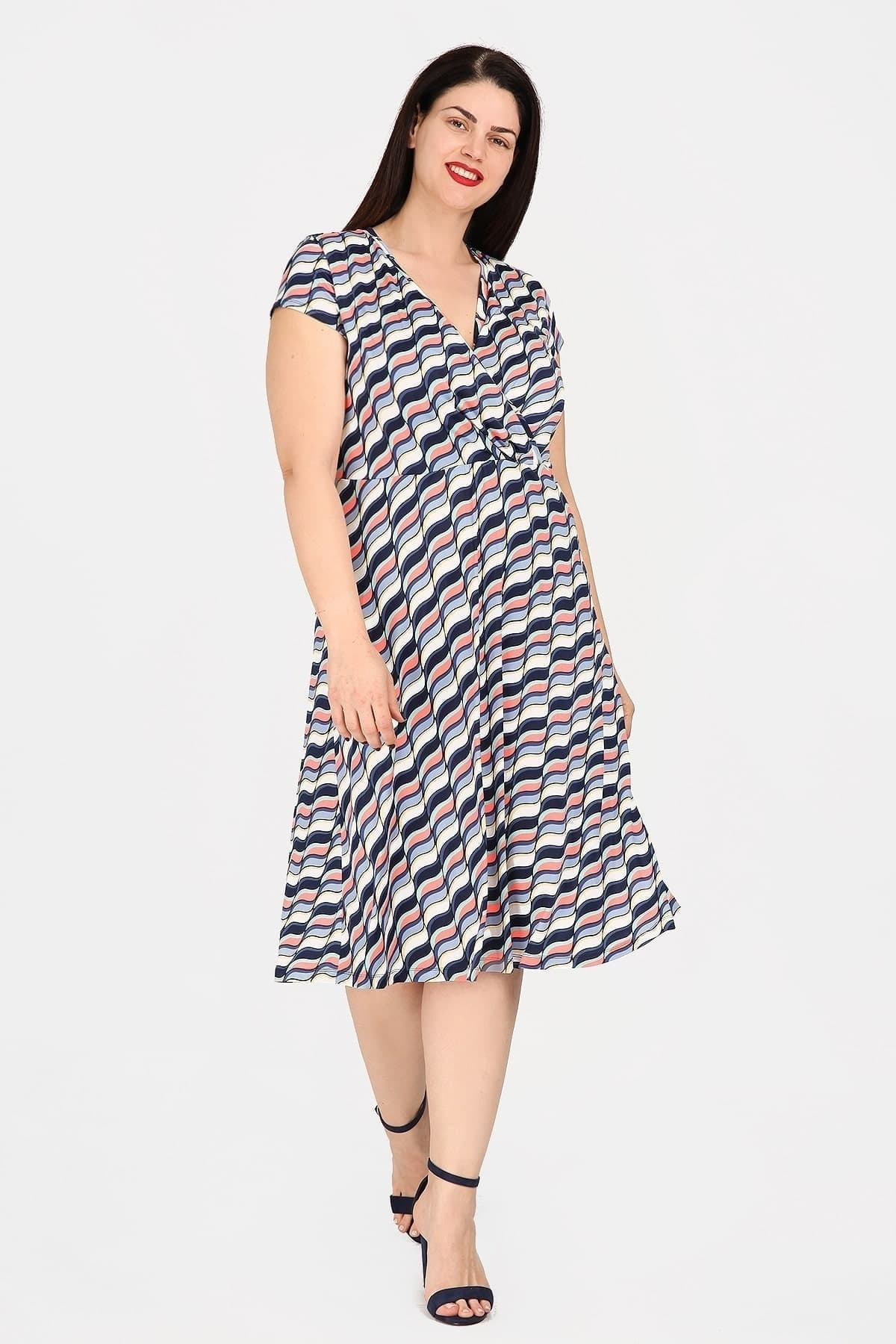 Printed midi dress with fluo details