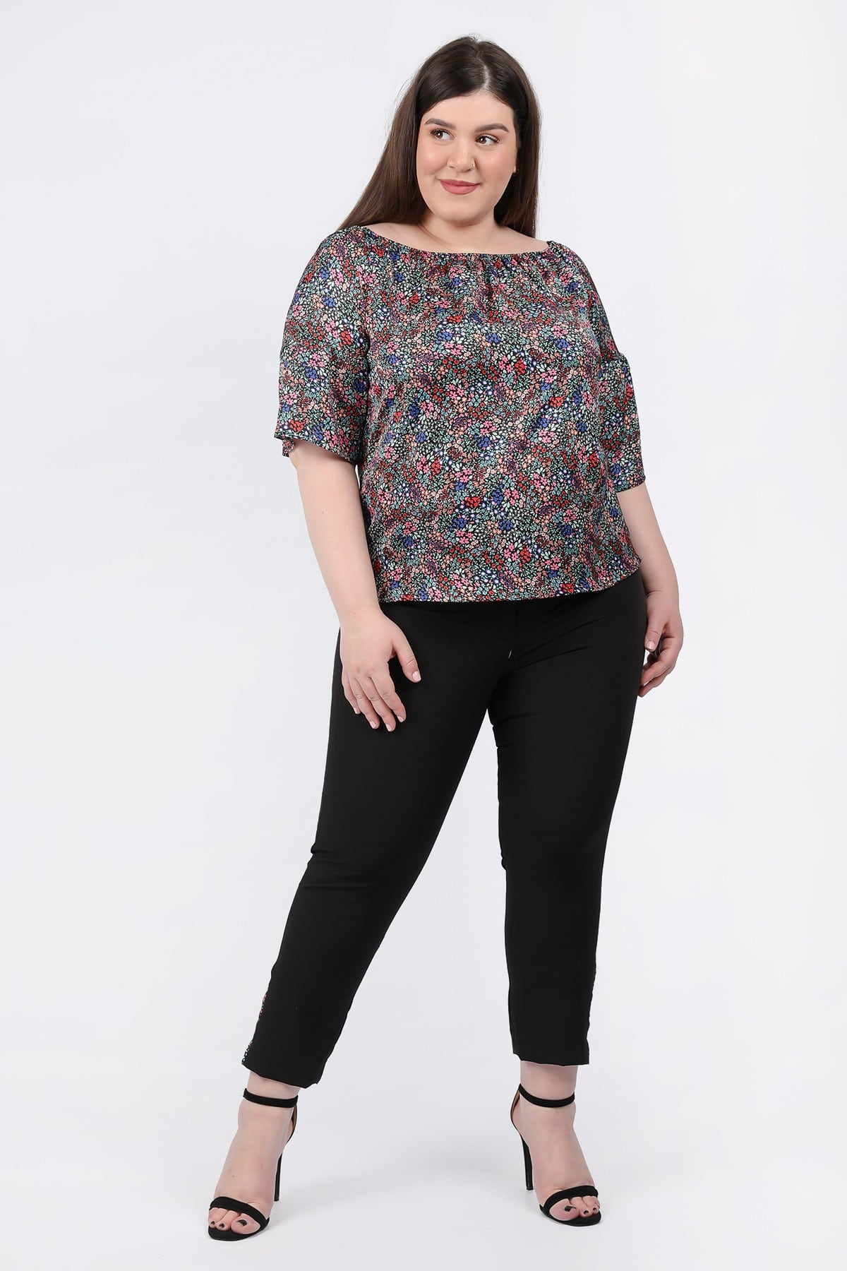 Sateen blouse with flared sleeves