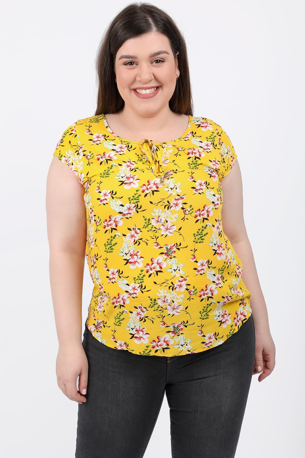 Floral blouse with ties on the V
