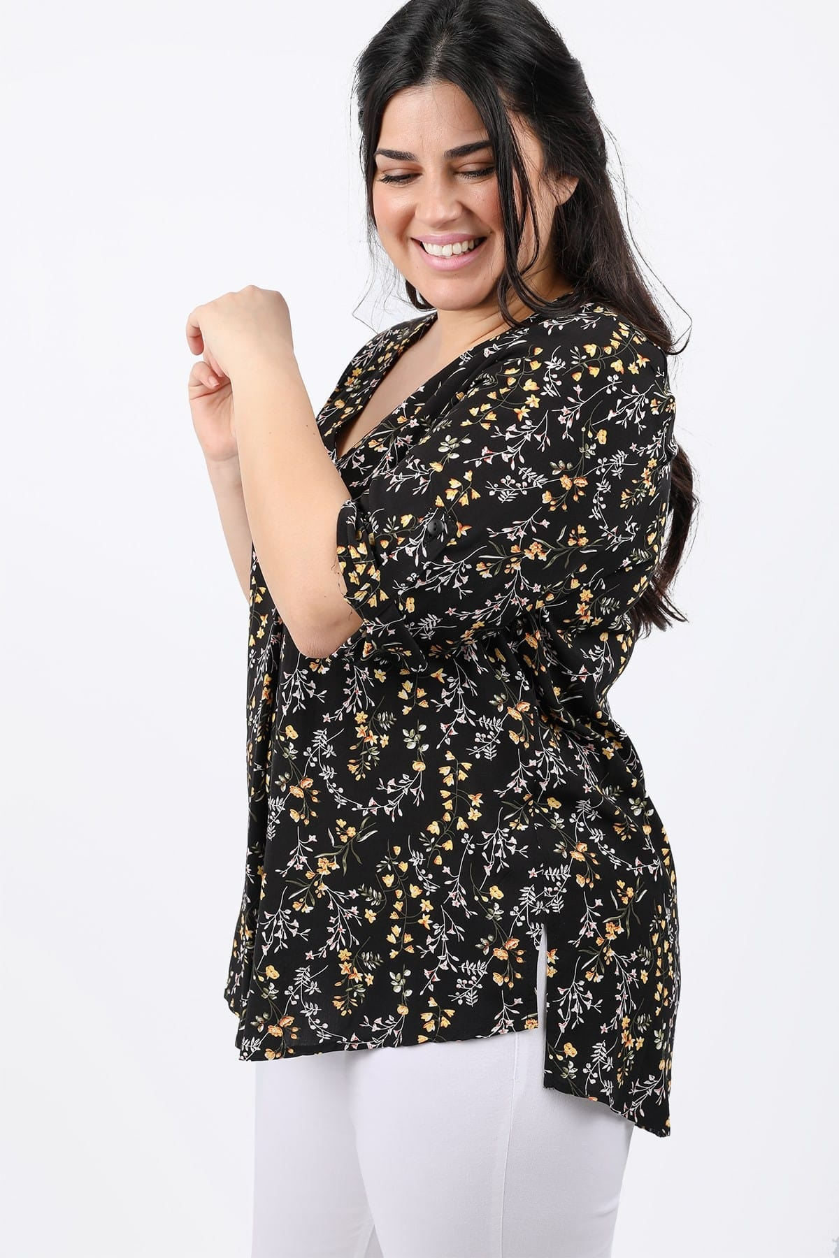 Floral top with pleat