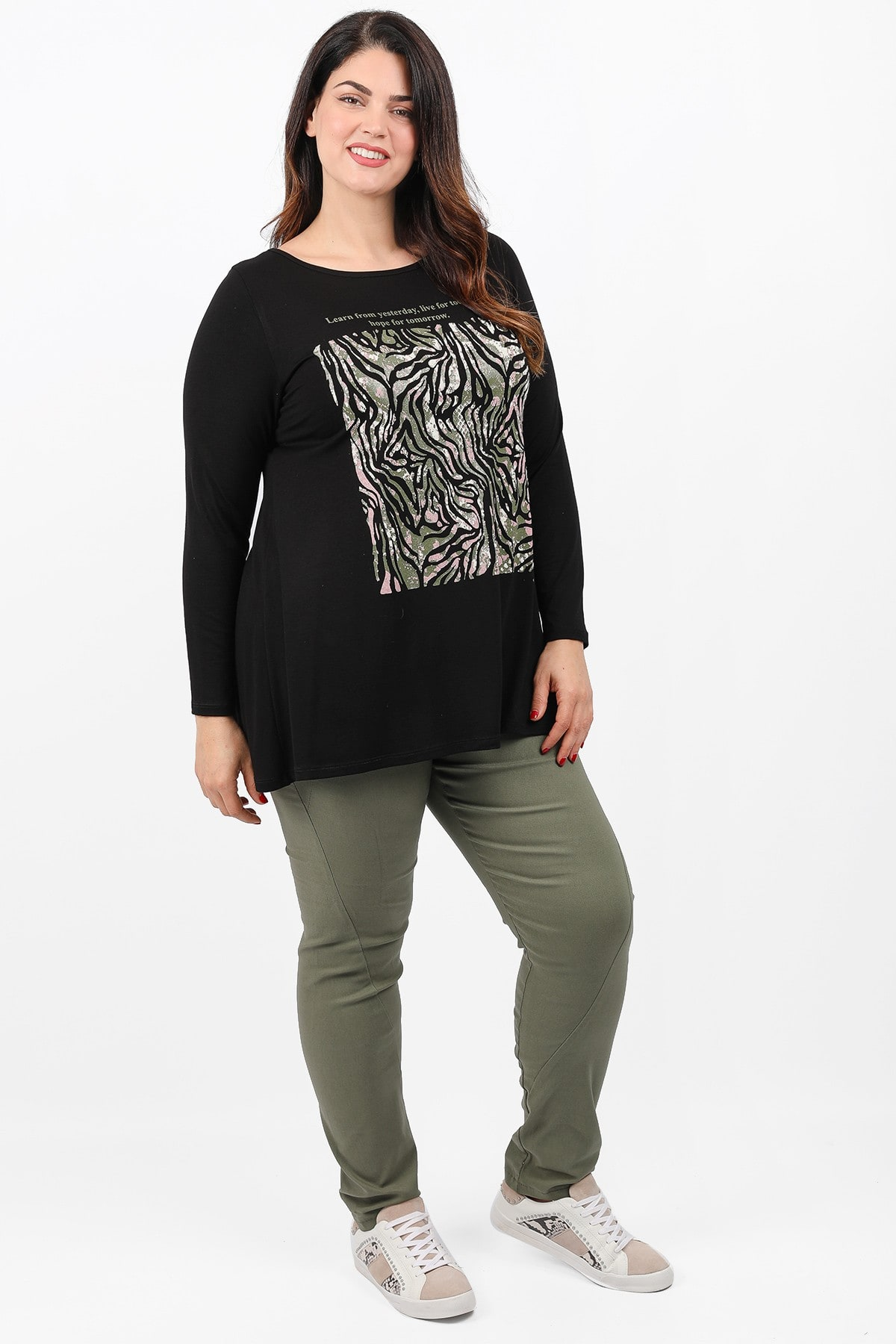 Blouse with print at the front view