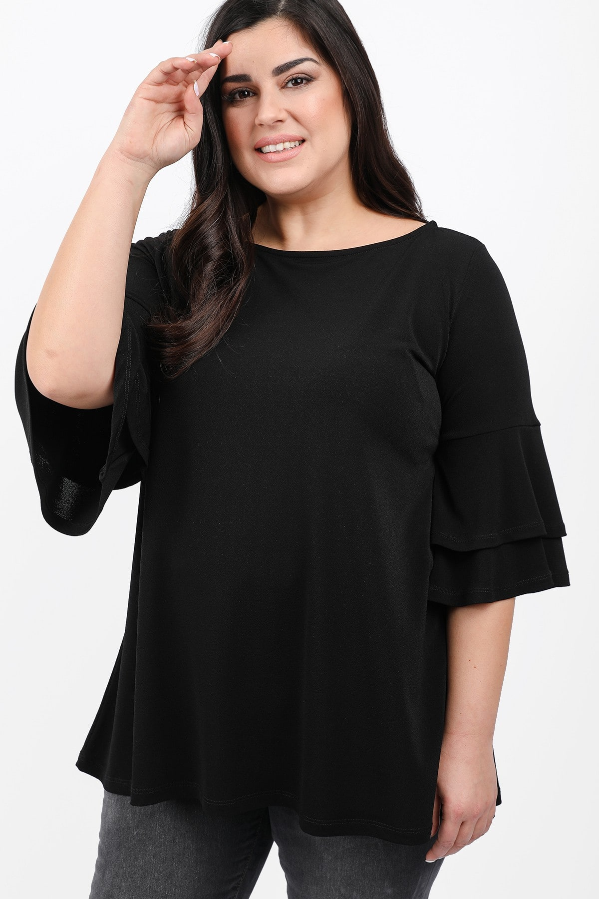 Tunic with double ruffled sleeves