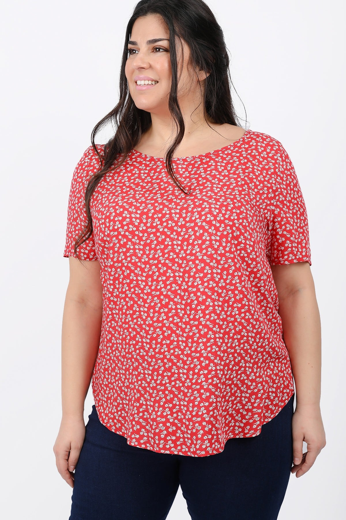 Floral shirtblouse with zipper on the back