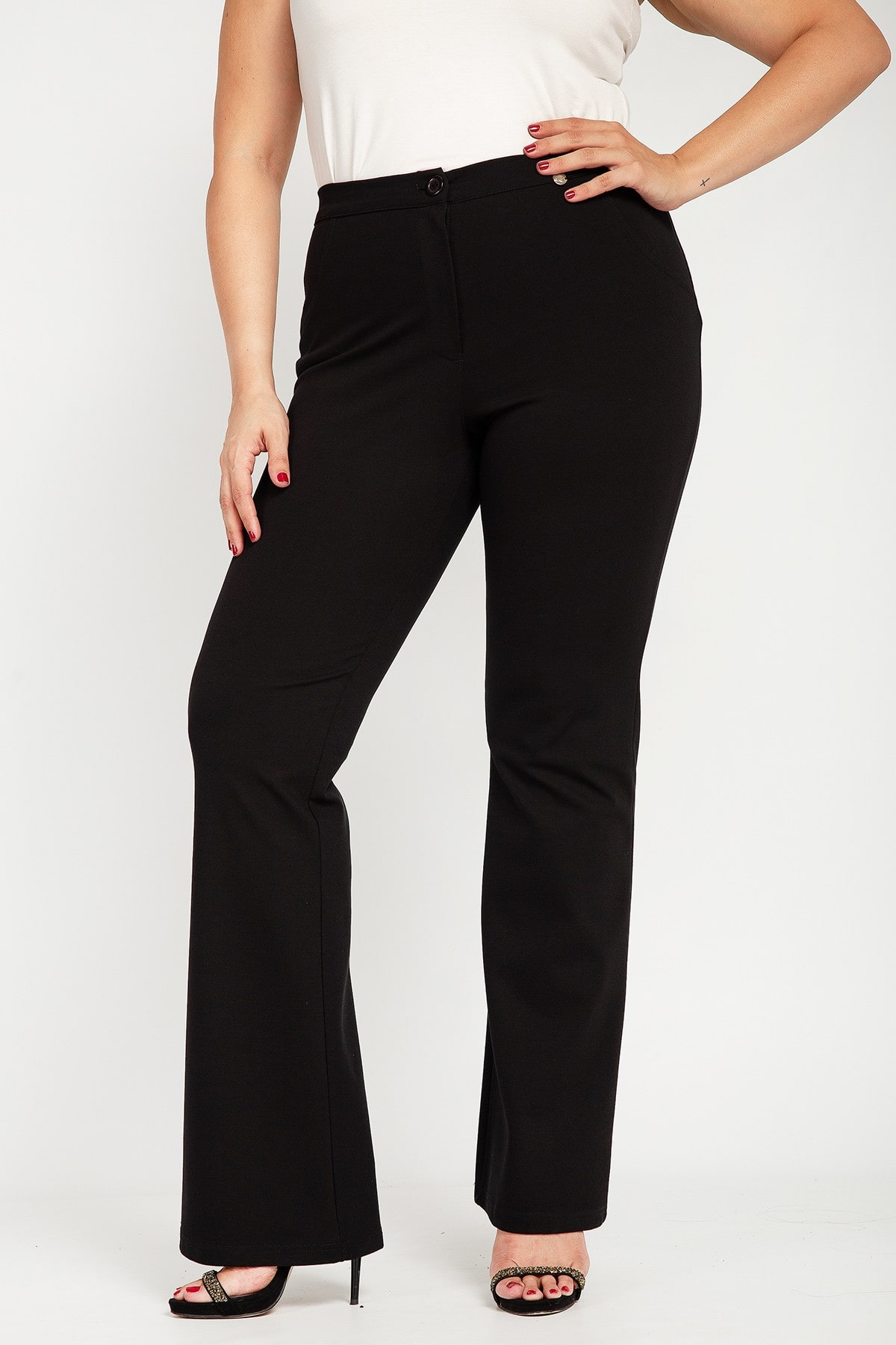 Flared stretch trousers