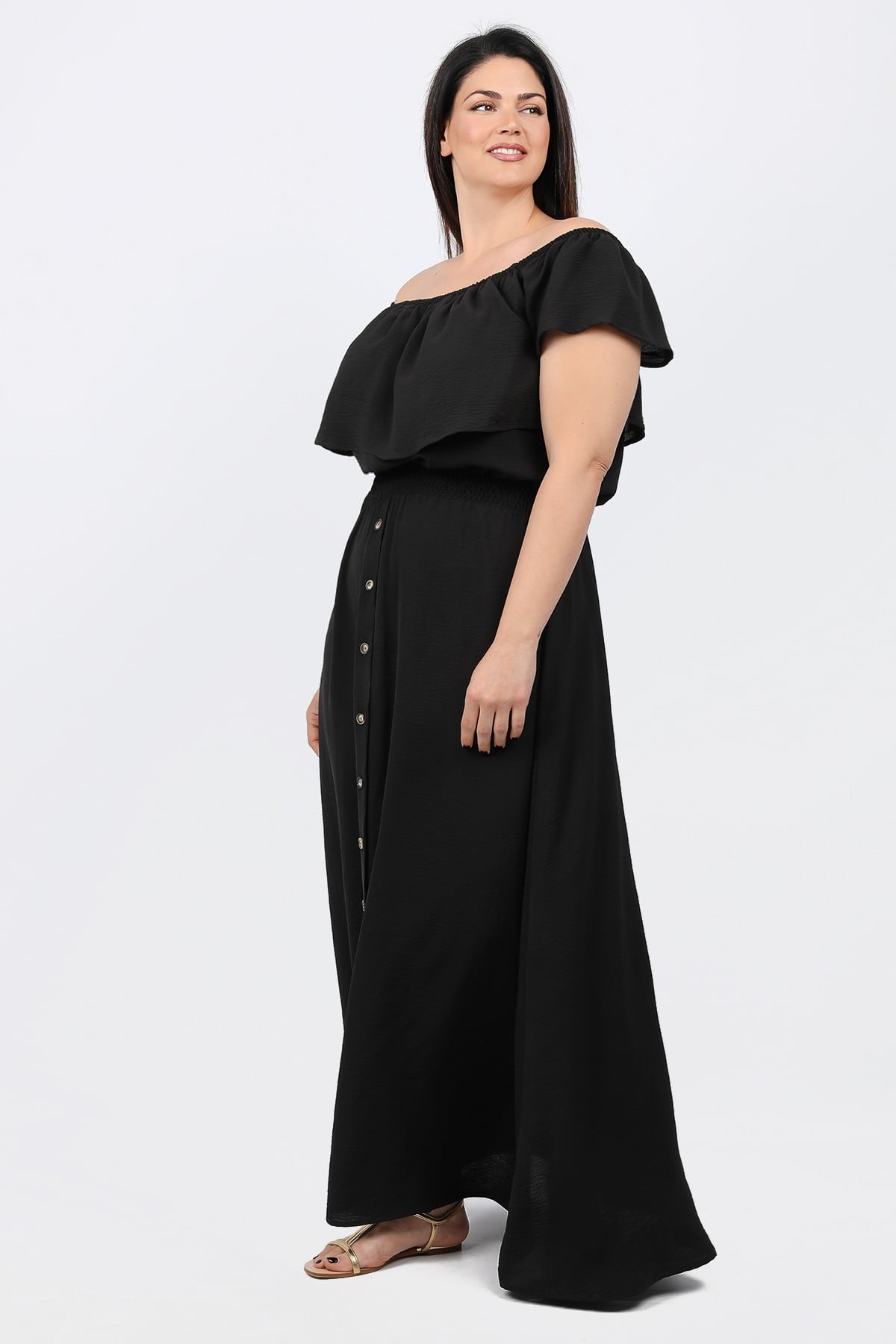 Off-shoulder maxi dress with ruffles