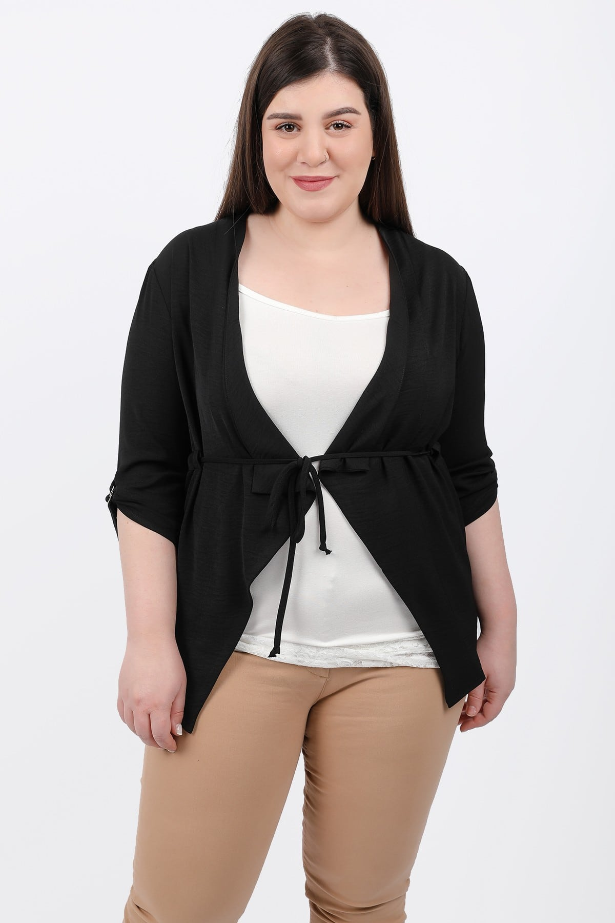 Cardigan with draped lapel and ties on the waist