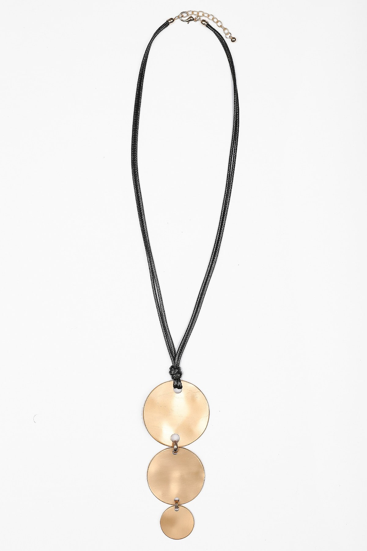 Long necklace with metallic circles