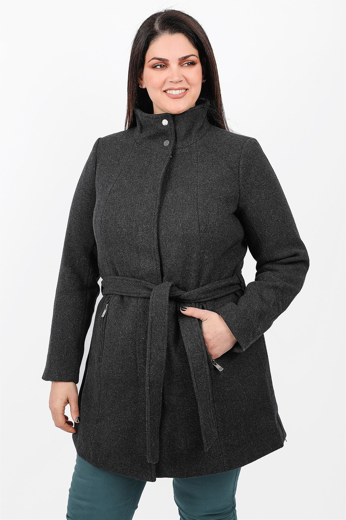 Wool midi coat with high neck