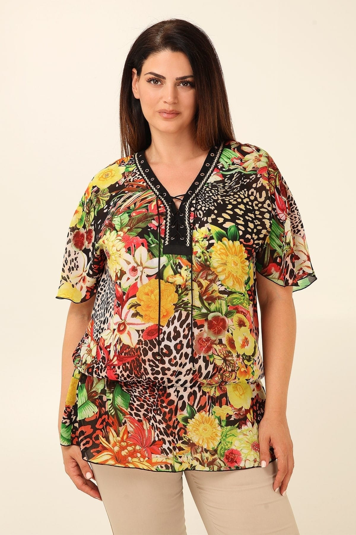 Tropical print tunic with lace up neckline  butterfly sleeves