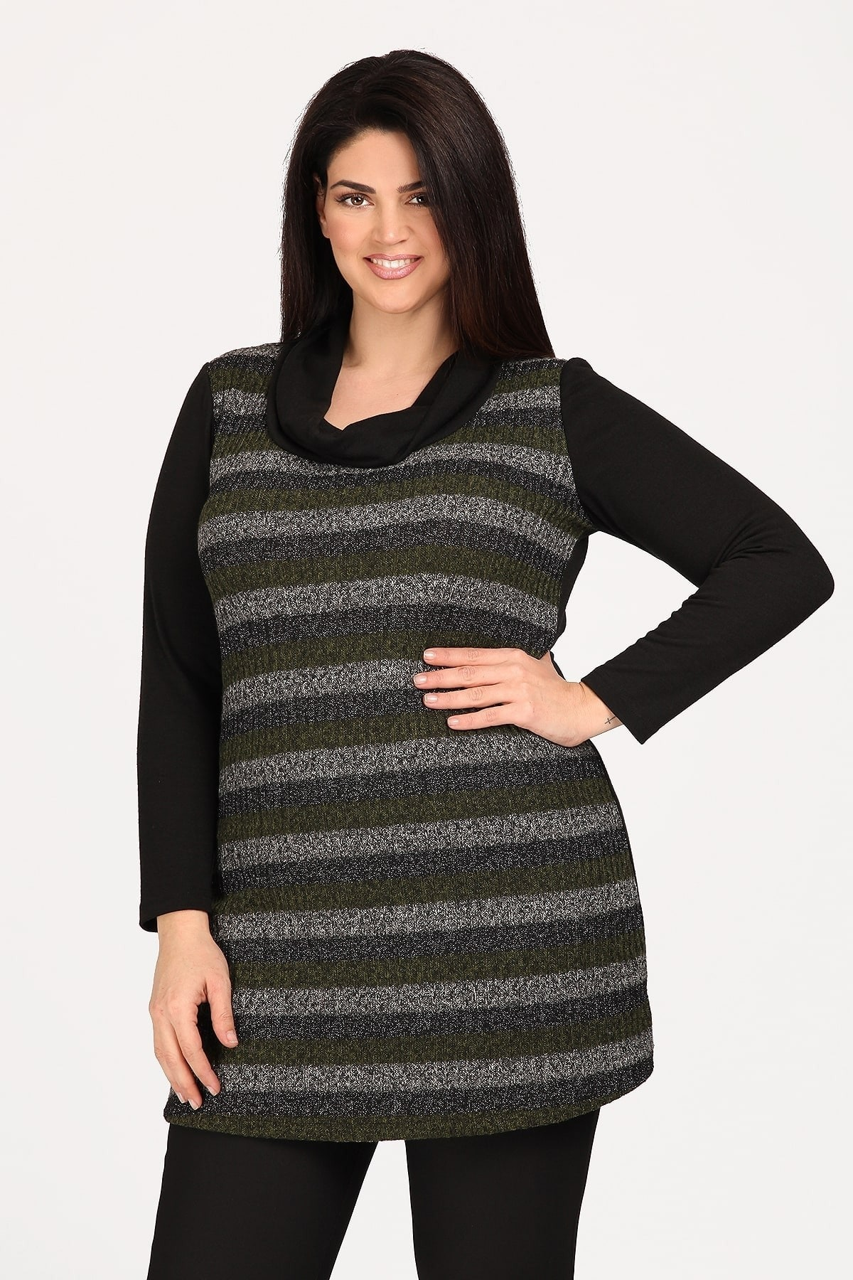 Knit striped roll down tunic