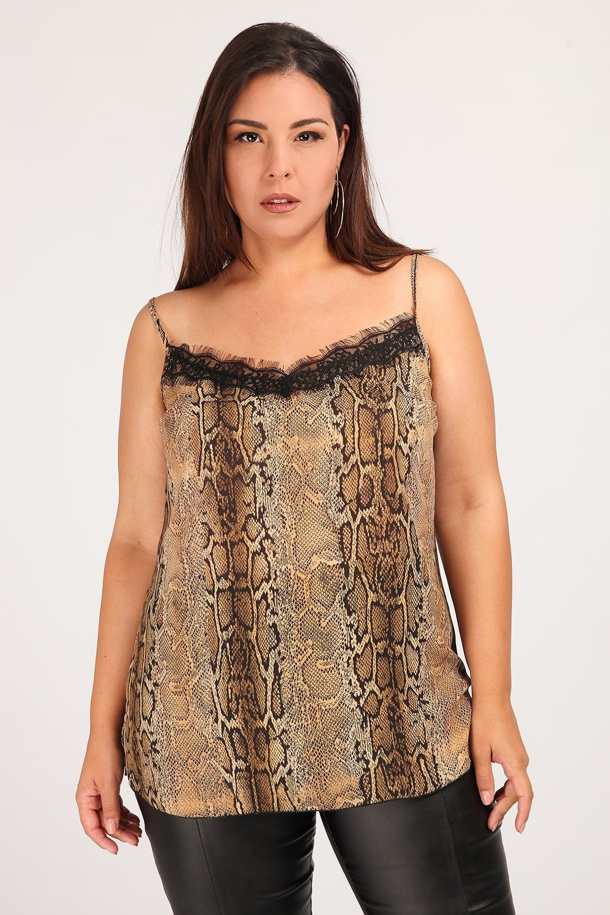 Printed snake lingerie top with lace