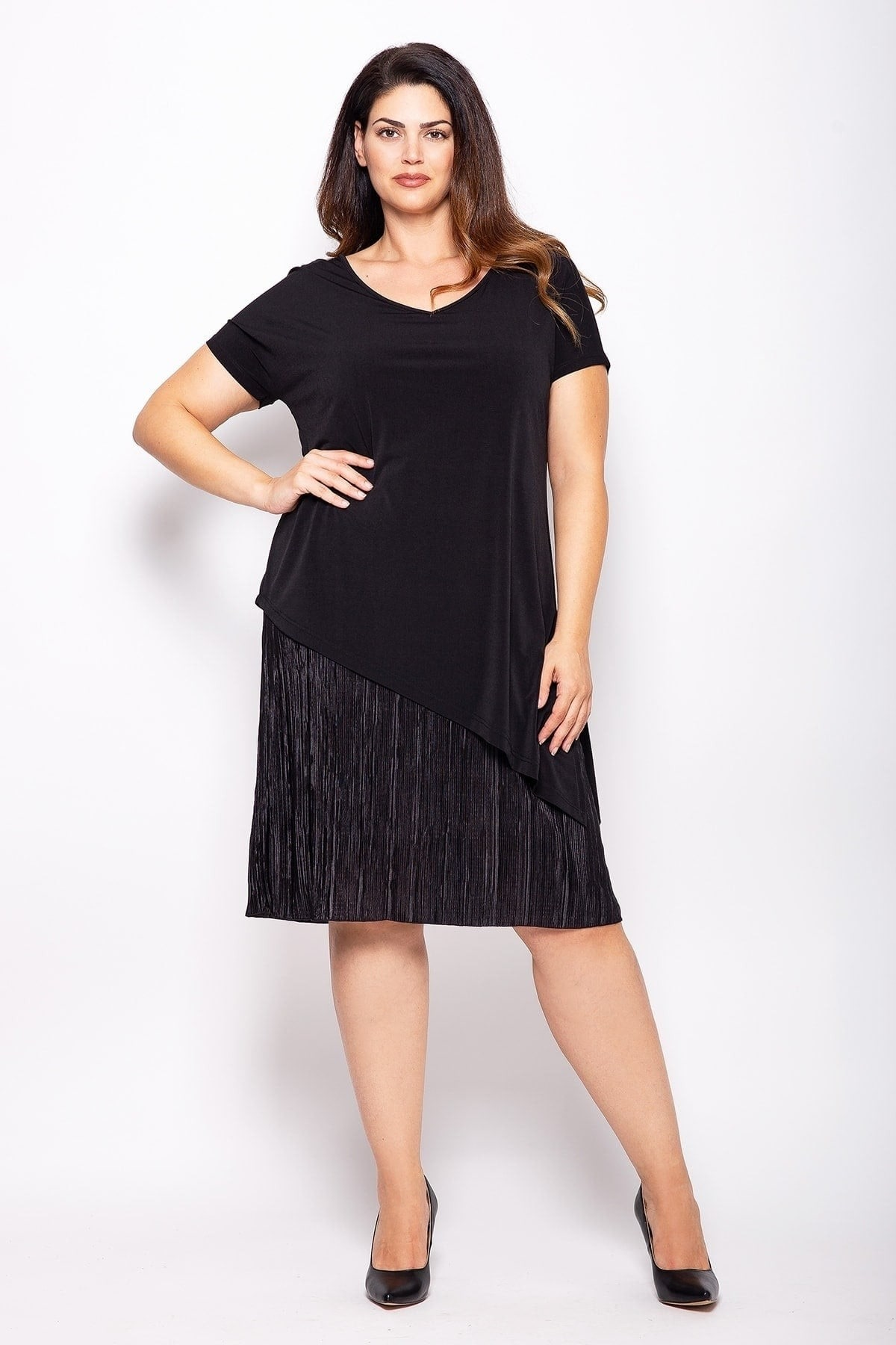 Pleated evening midi dress with tunic