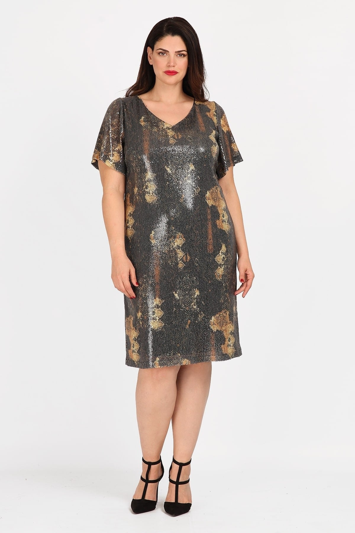 Printed dress from elastic sequins