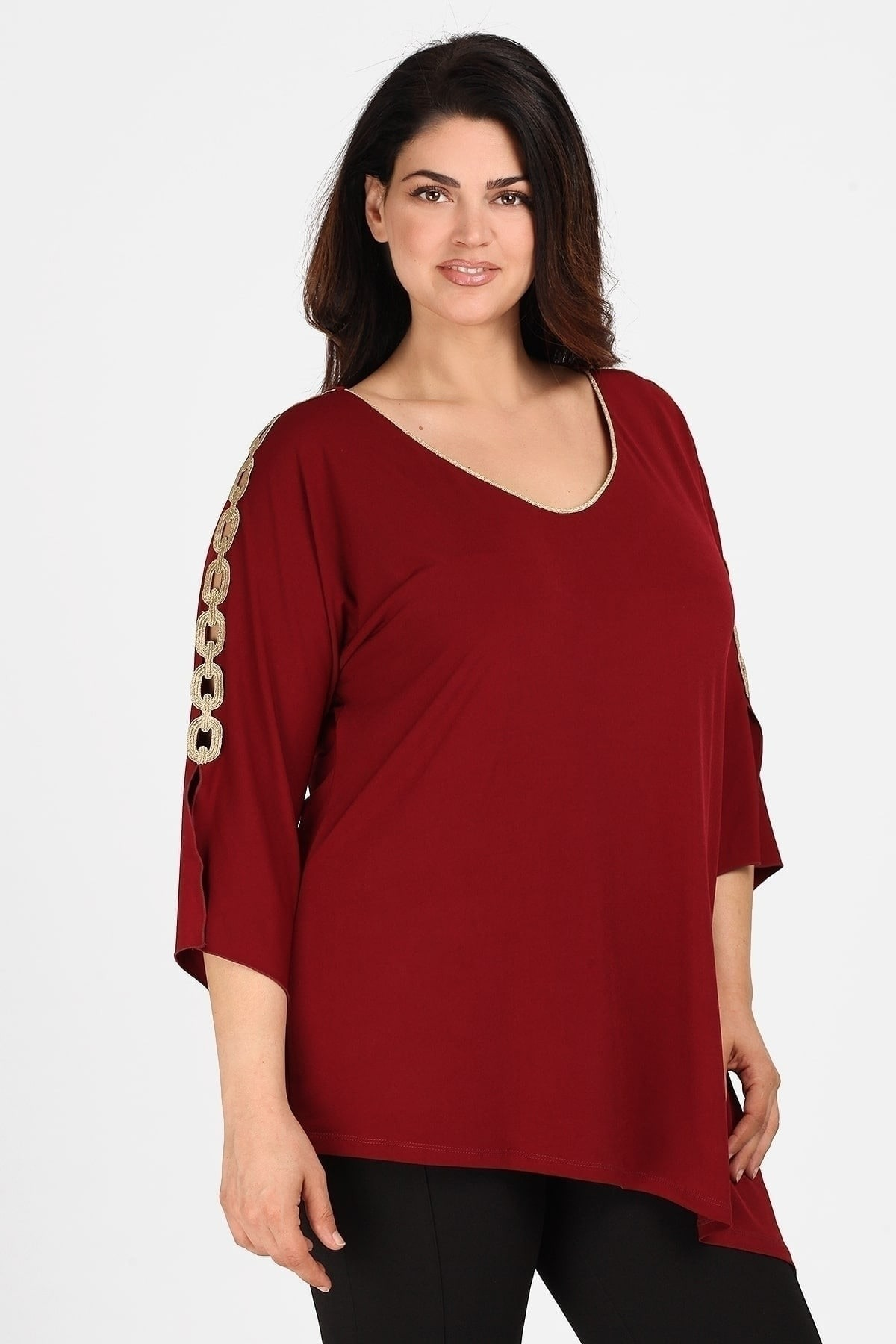 Evening blouse with golden stripe on the V