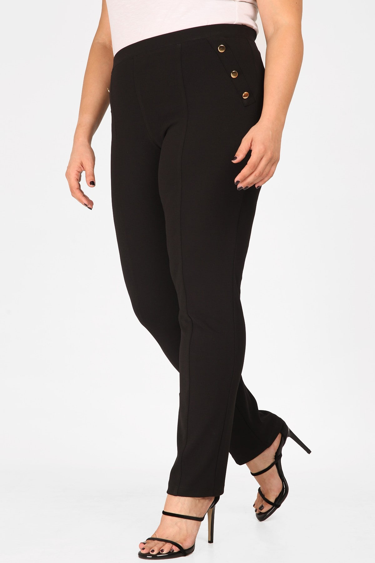 Crepe treggings adorned with buttons
